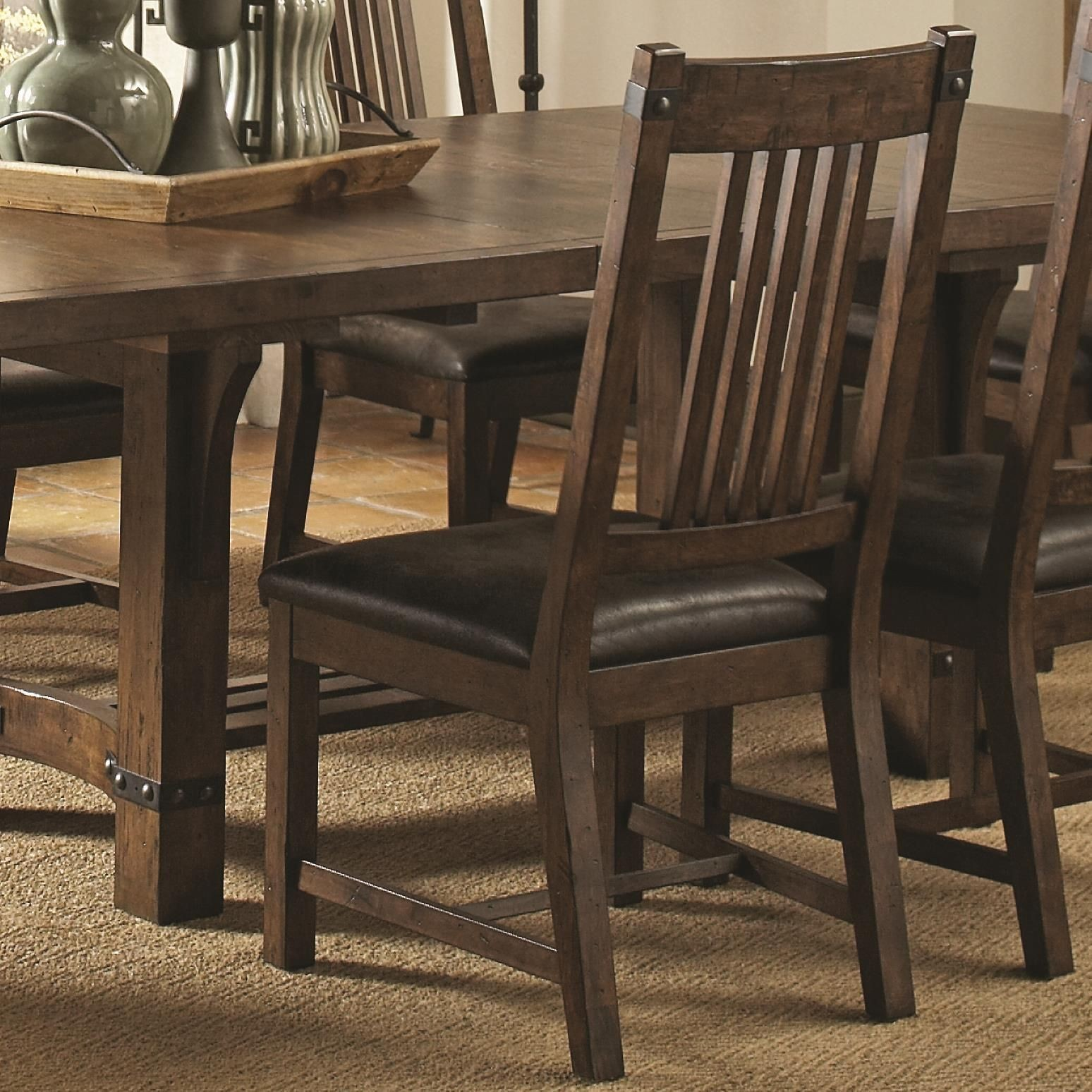 Padima rustic leather dining side chair set of from