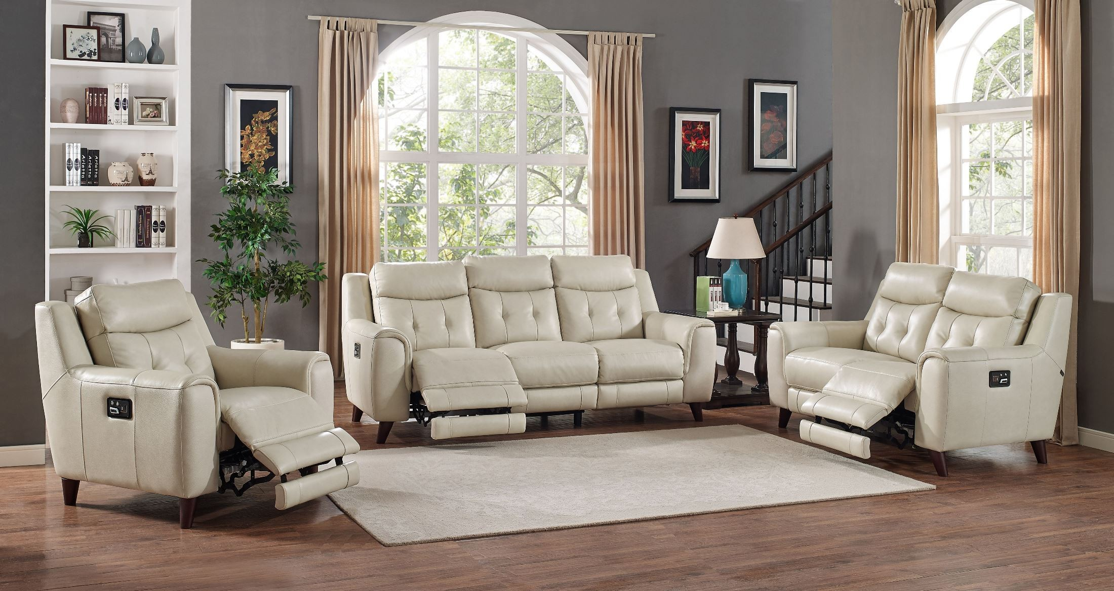 Paramount cream leather power reclining living room set - Living room with cream leather sofa ...