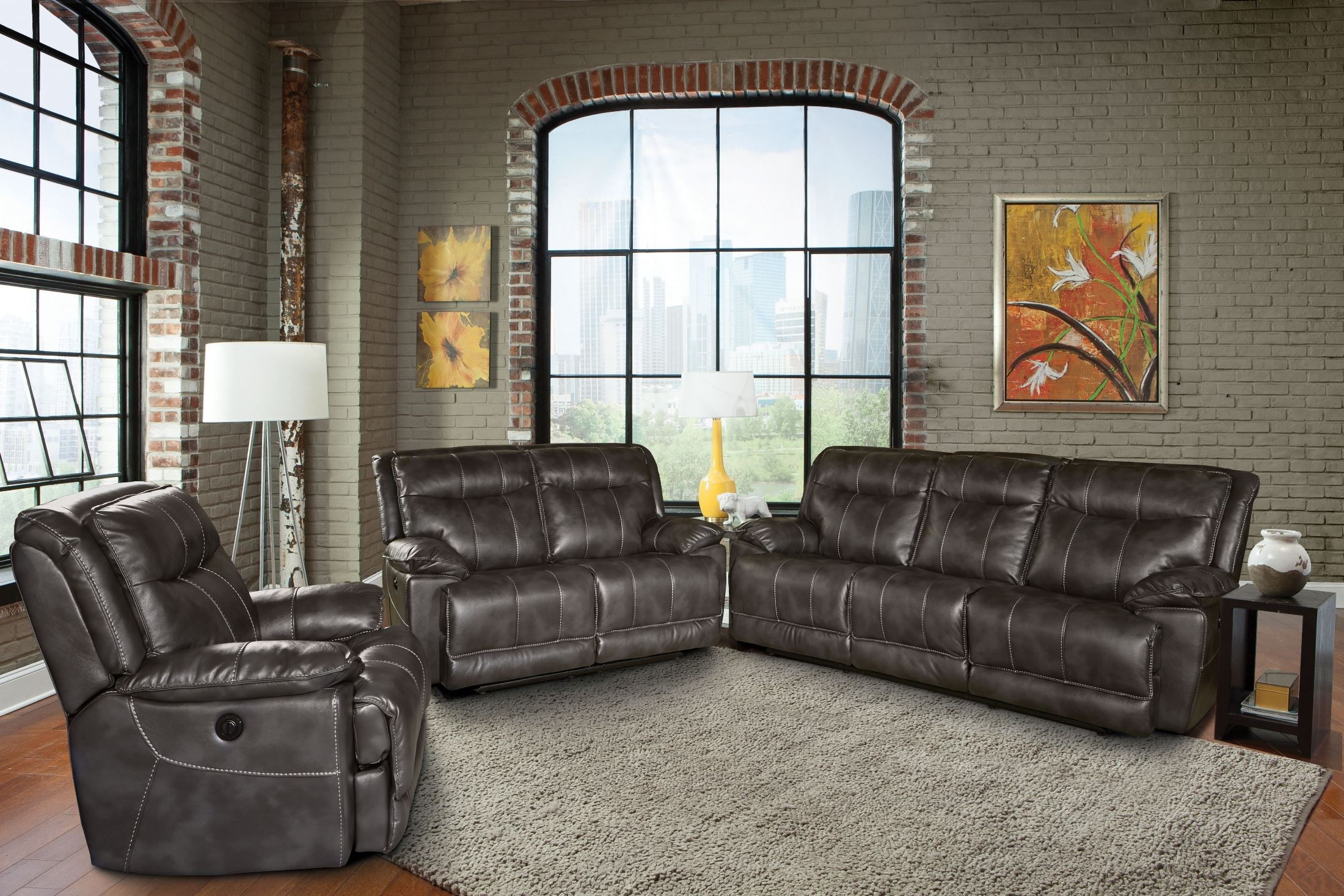 Phoenix Flint Dual Power Reclining Living Room Set from