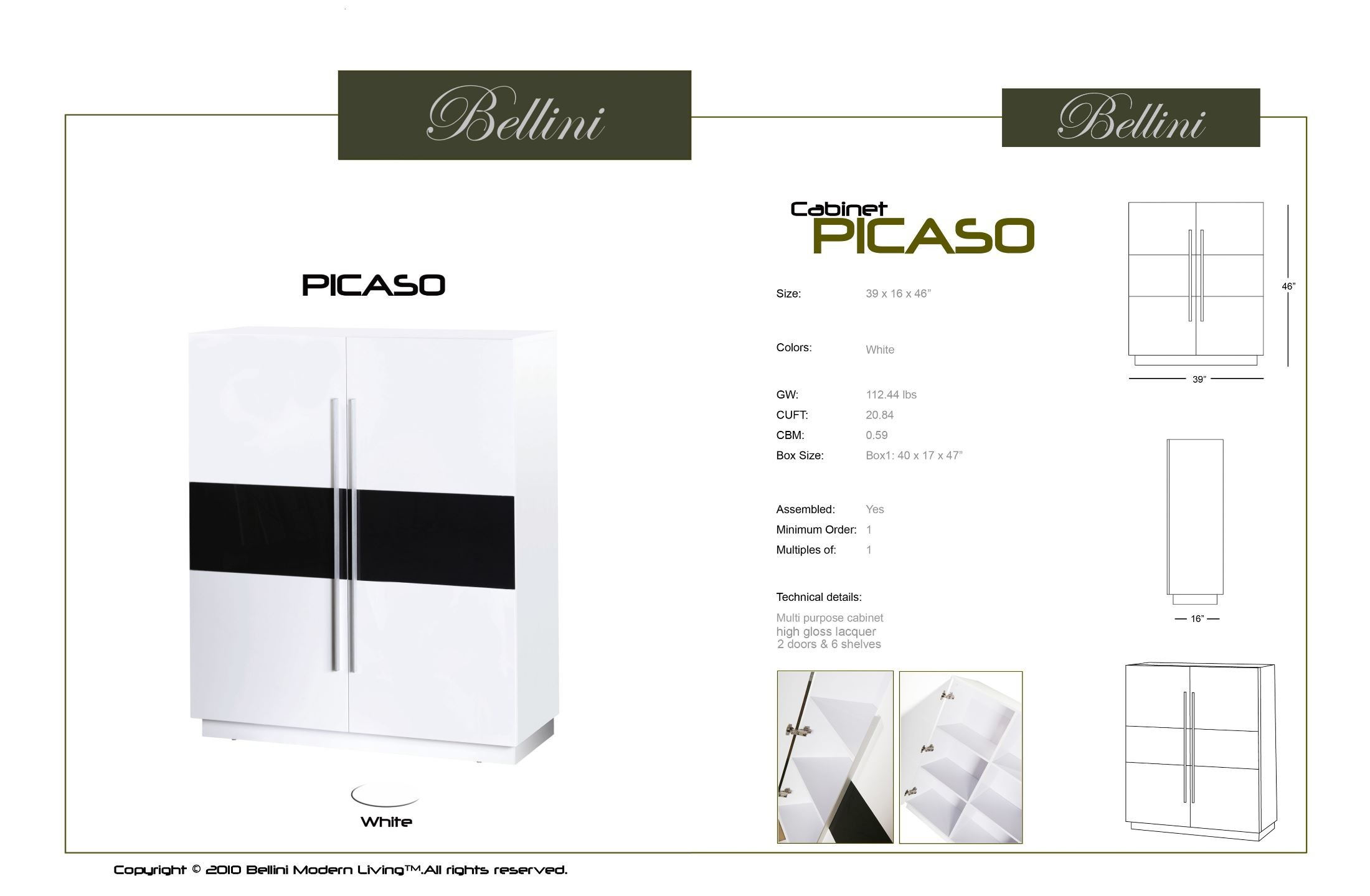 Picaso white high gloss cabinet from bellini modern living for Bellini kitchen cabinets