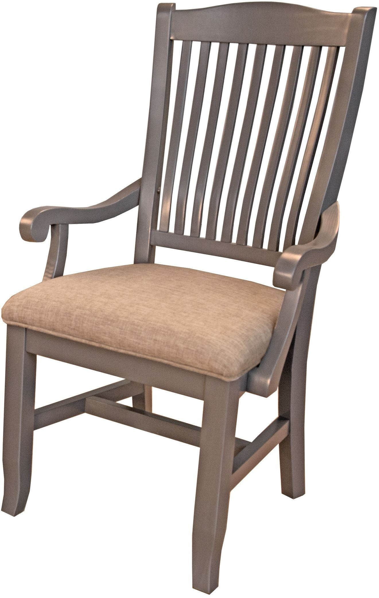 Port townsend grey slat back upholstered arm chair