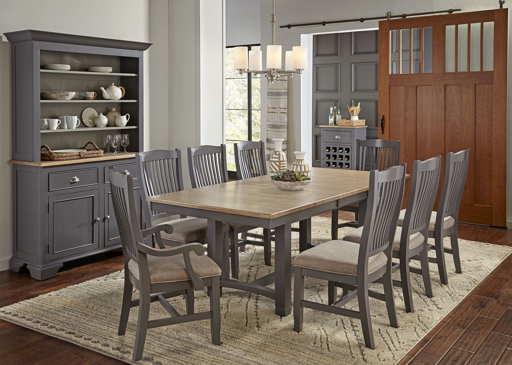 Port townsend grey and seaside pine extendable rectangular for Trestle dining room sets
