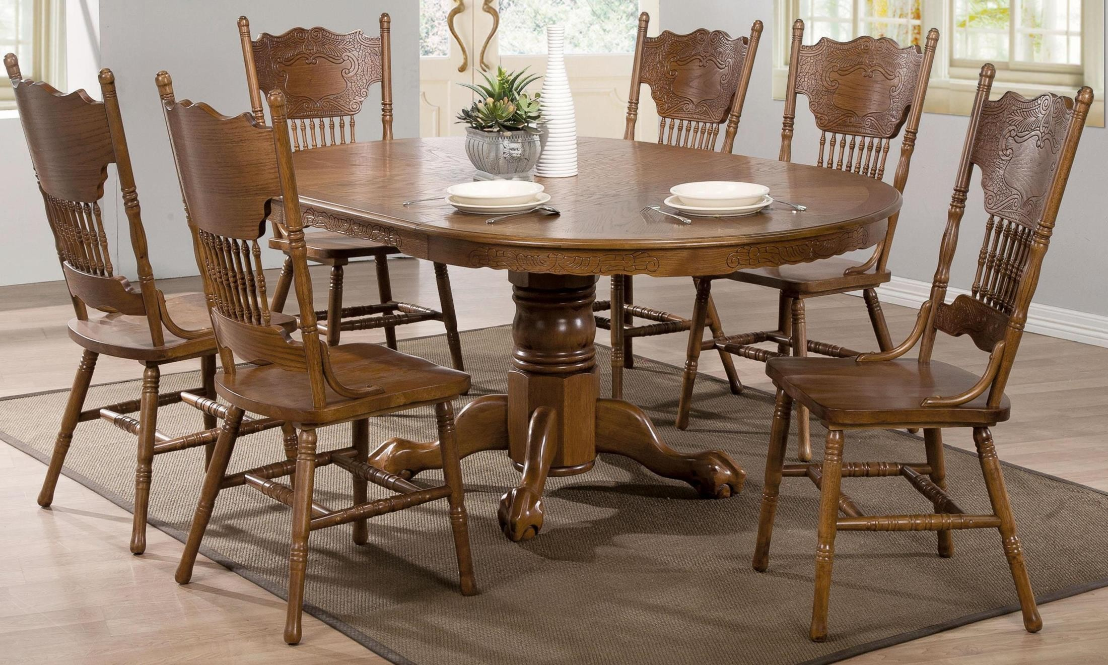 brooks oak oval dining room set from coaster 104270 coleman