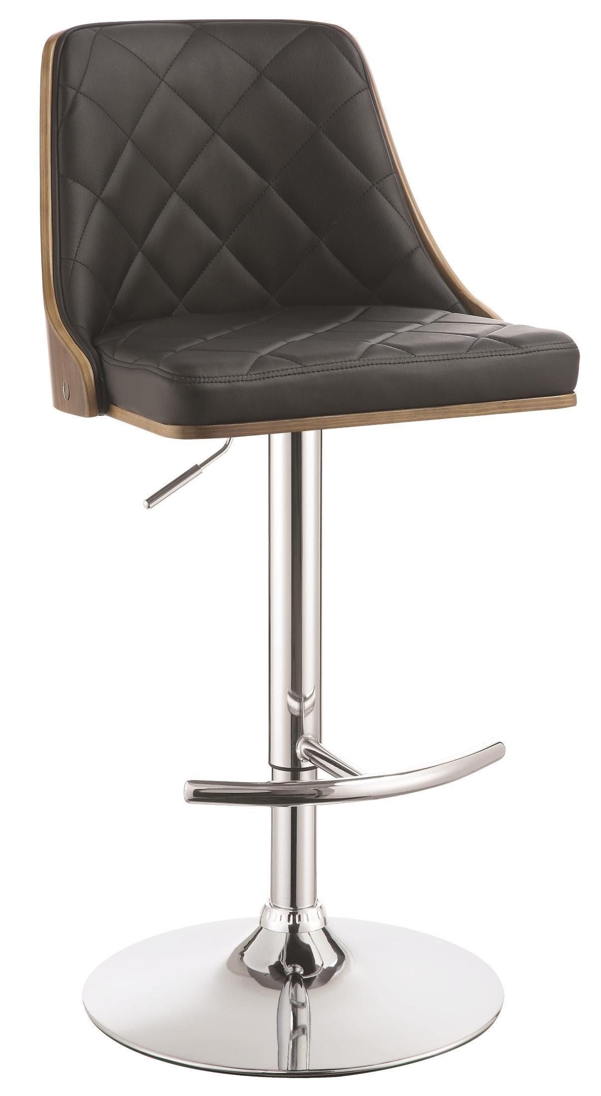 Black Upholstered Adjustable Bar Stool From Coaster