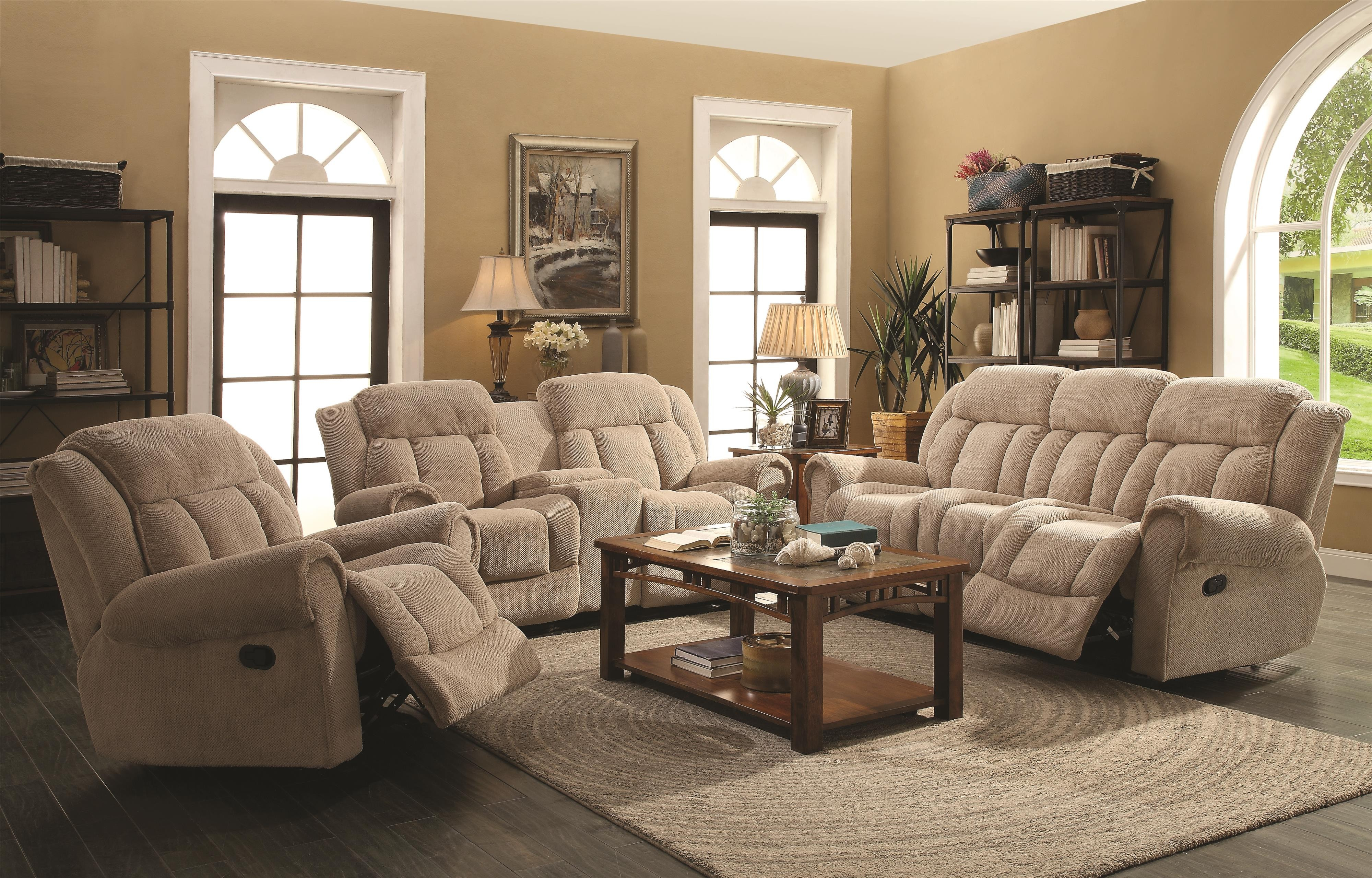 Reige motion taupe reclining living room set from coaster for Taupe color living room