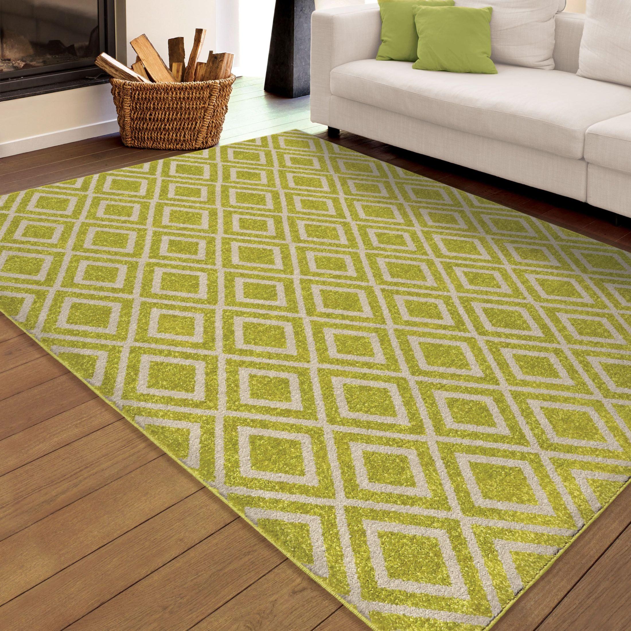 Orian rugs indoor outdoor diamonds trellis green area for Landscape indoor area rug