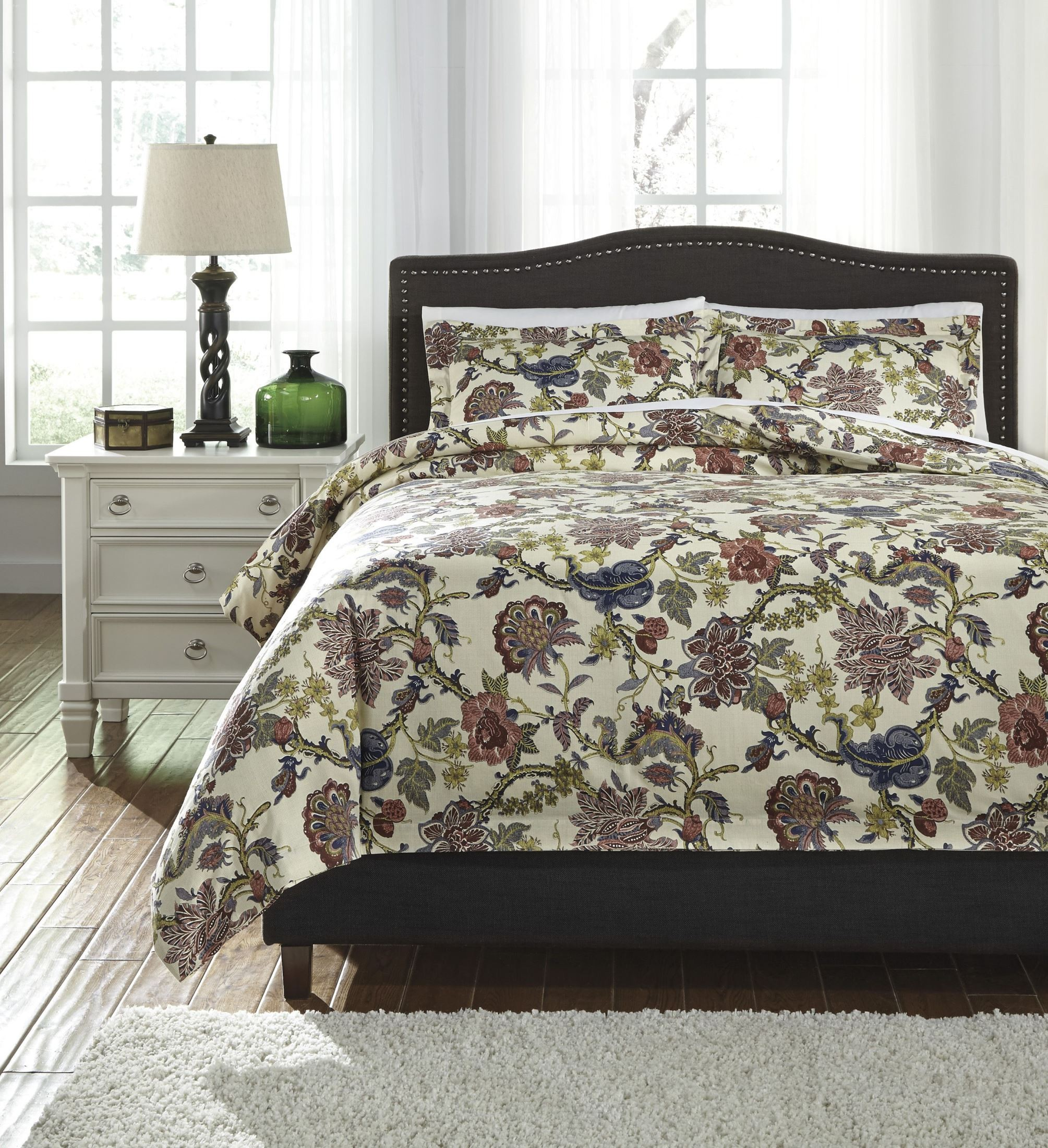 dameka floral queen duvet cover set q267003q ashley. Black Bedroom Furniture Sets. Home Design Ideas
