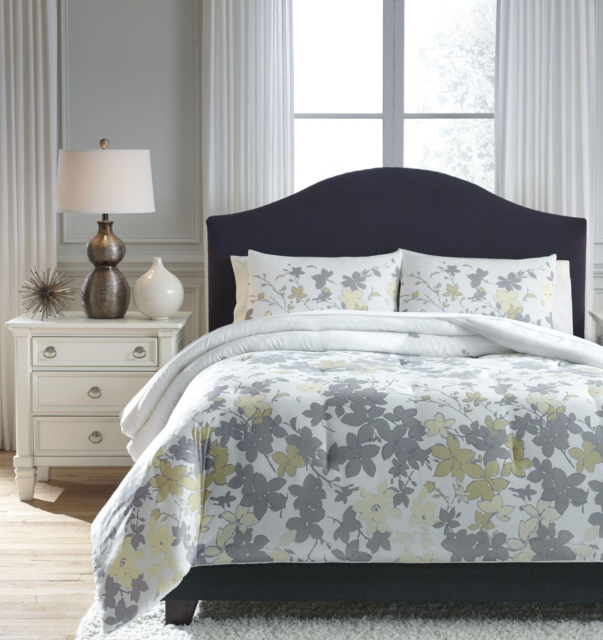Gray Madeira Comforter Set : Maureen gray and yellow queen comforter set q ashley