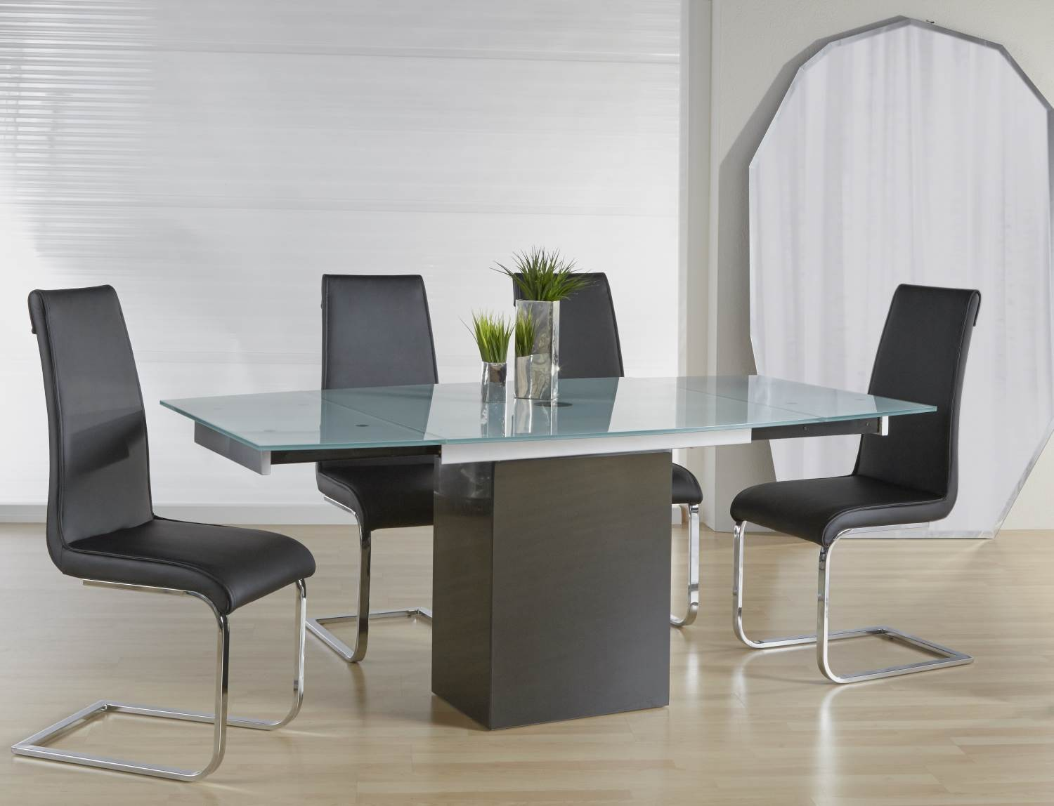 Ritz frosted glass quadrato extendable dining table from star international Frosted glass furniture