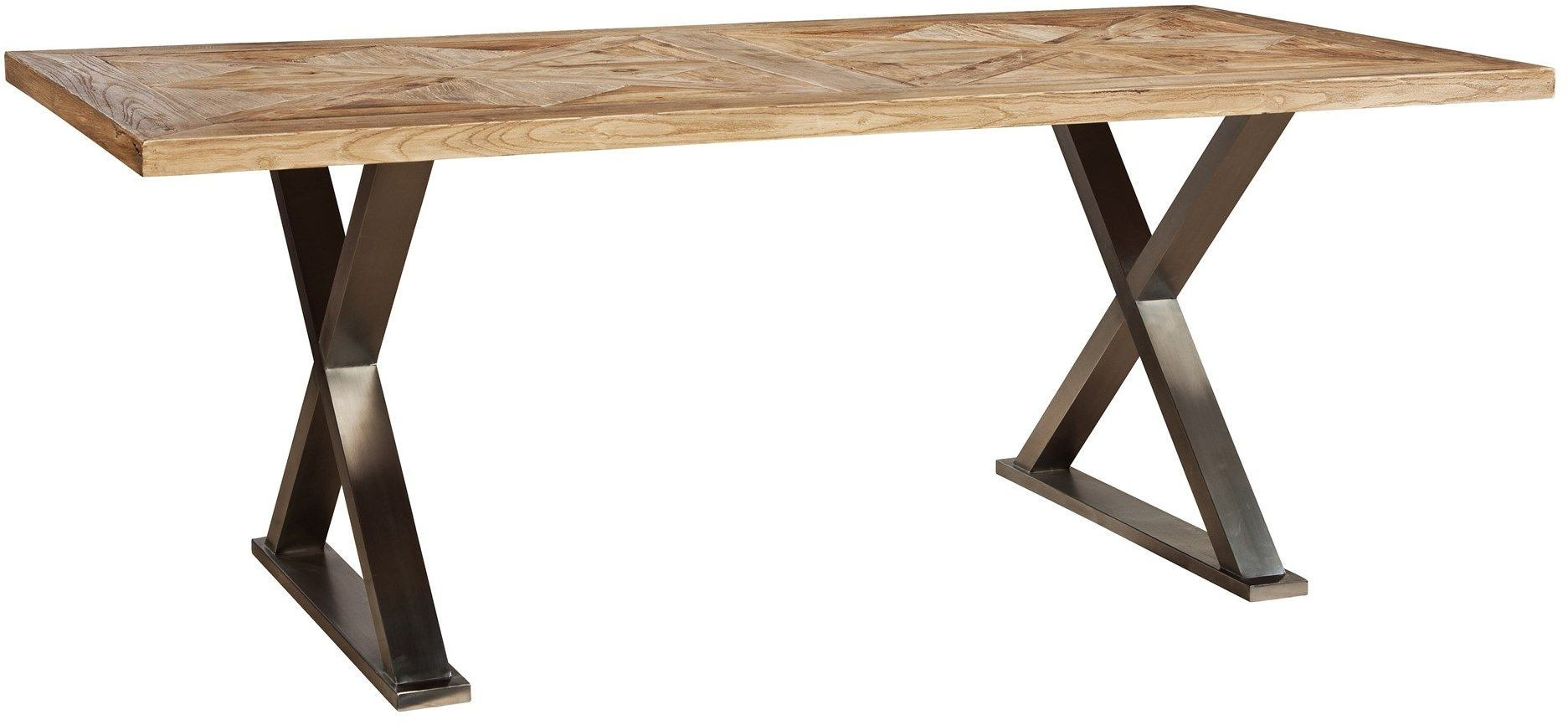 Brown cross leg rectangular dining table rdh40 furniture classics - Crossed leg dining table ...