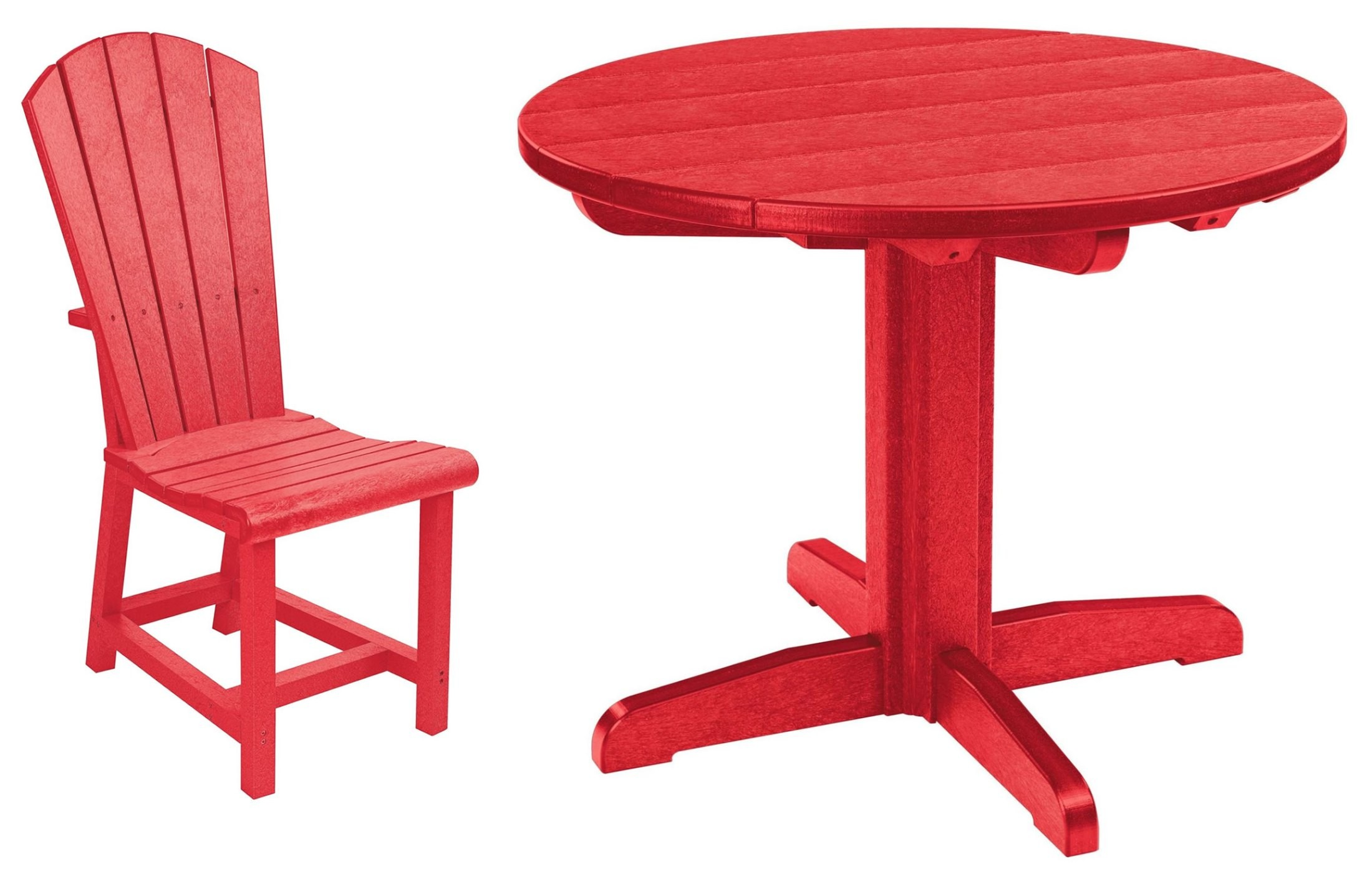 generations red 32 round pedestal dining room set from cr plastic