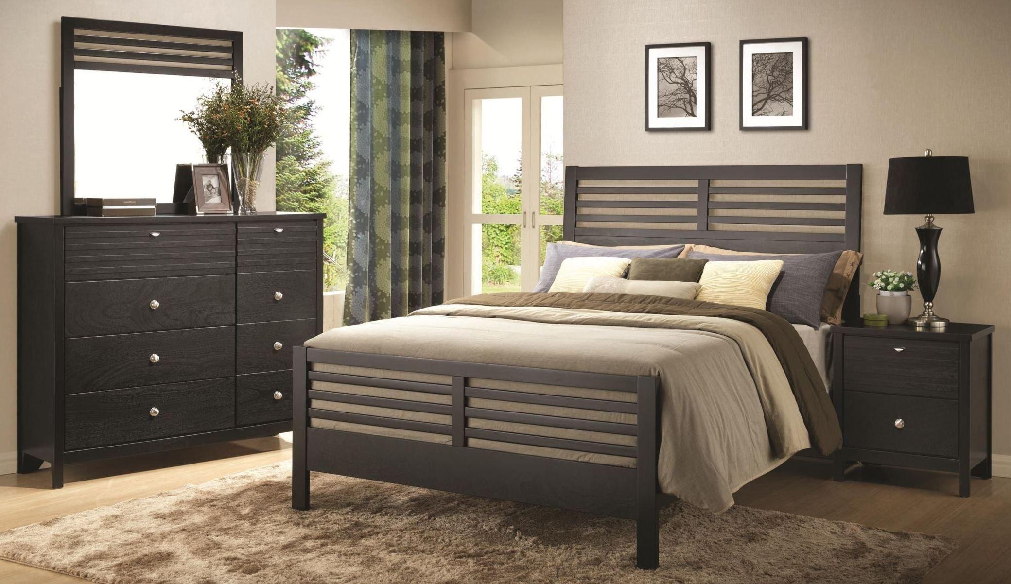 richmond black slat panel bedroom set from coaster 202721qn