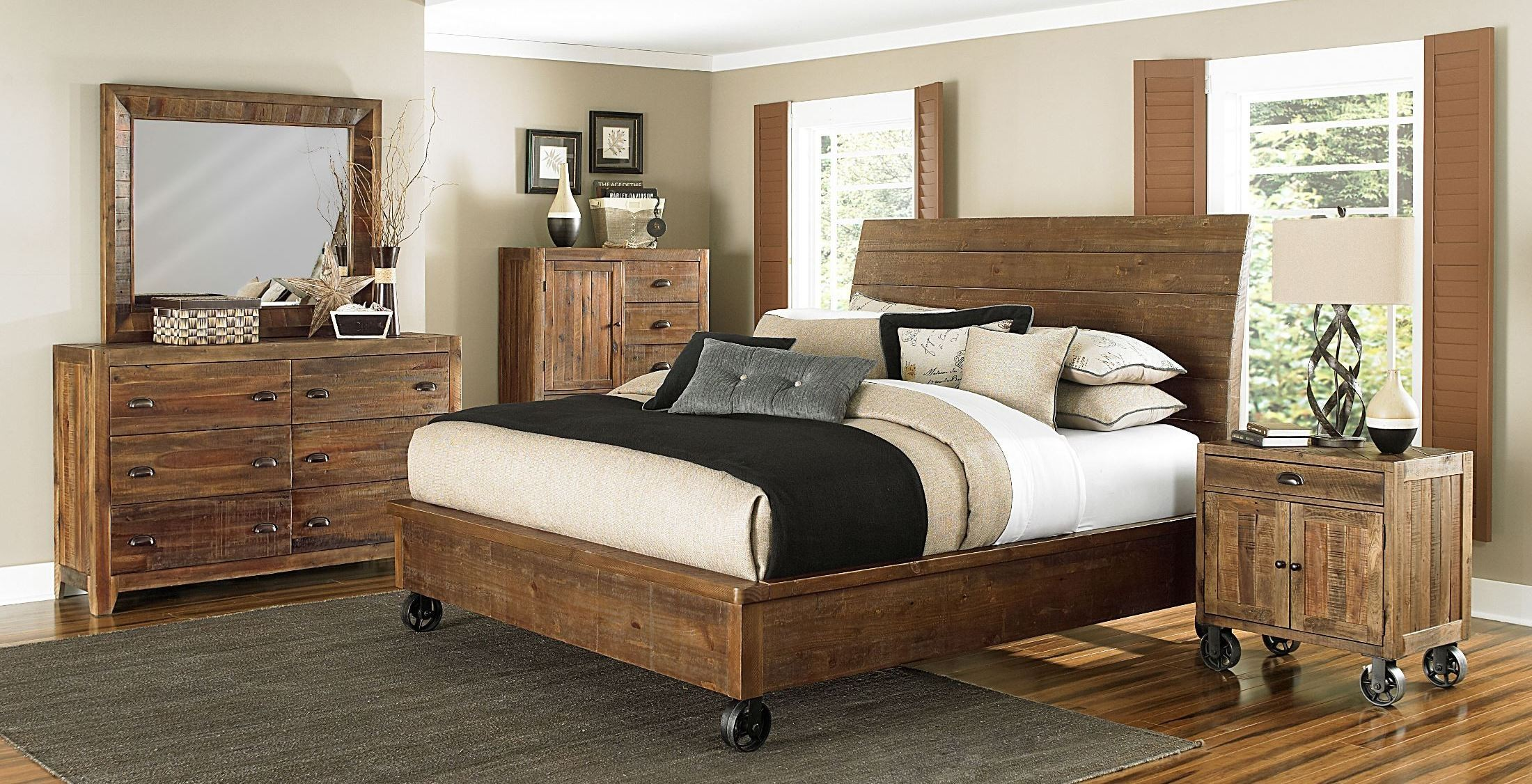 river ridge island bedroom set with casters from magnussen