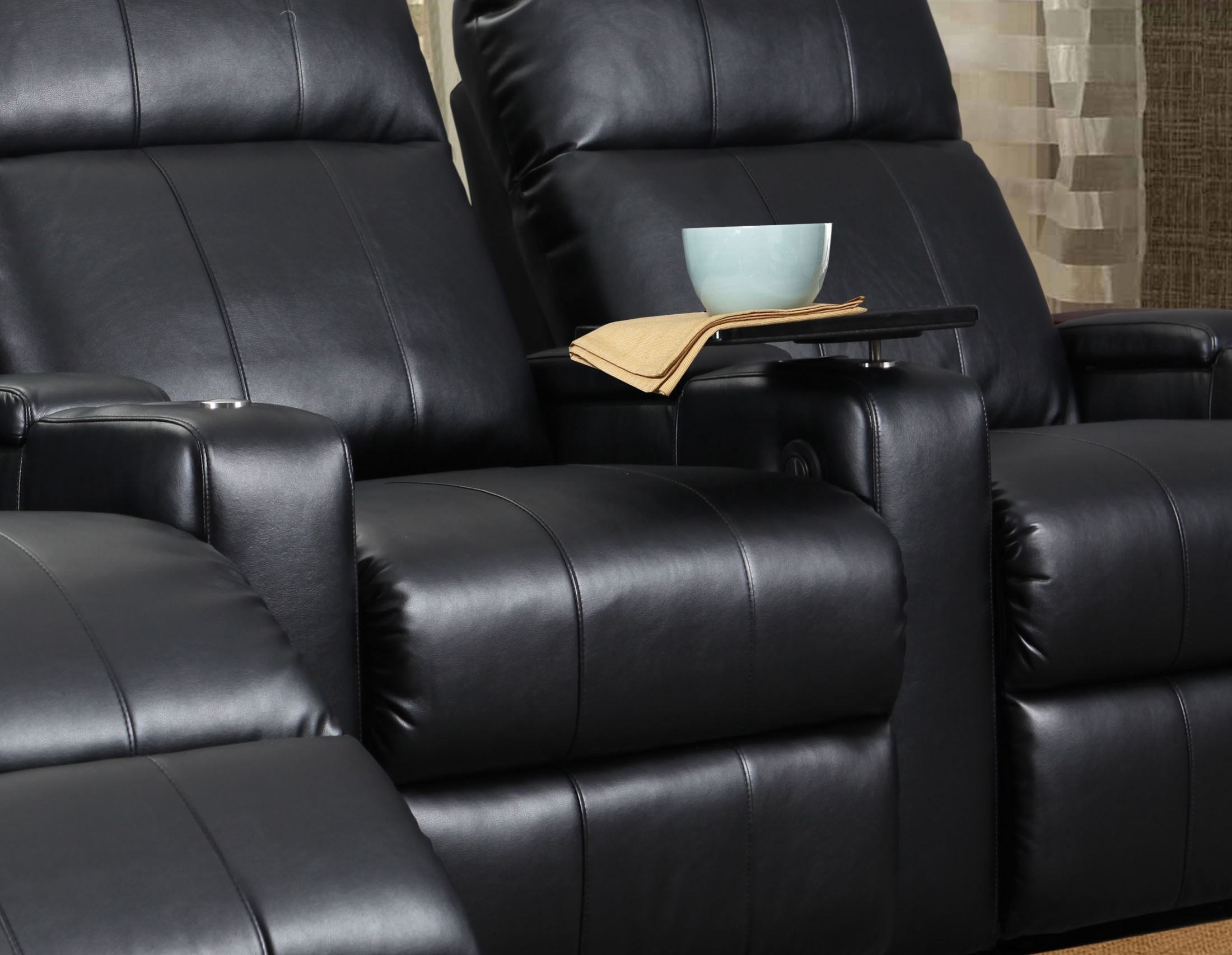 Plaza Black Bonded Leather Power Reclining Straight Row 3 Seats Home Theater