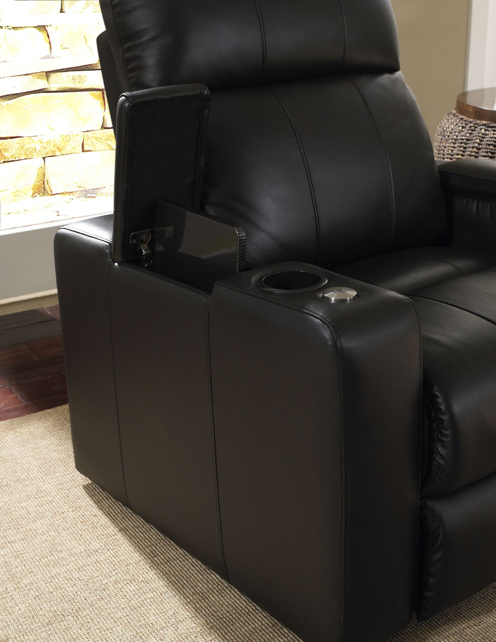Plaza Black Bonded Leather Power Reclining Straight Row 4 Seats Home Theater