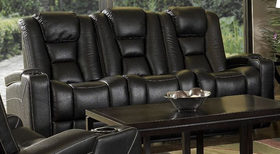 Evolution Black Leatheraire Fabric Power Reclining Sofa
