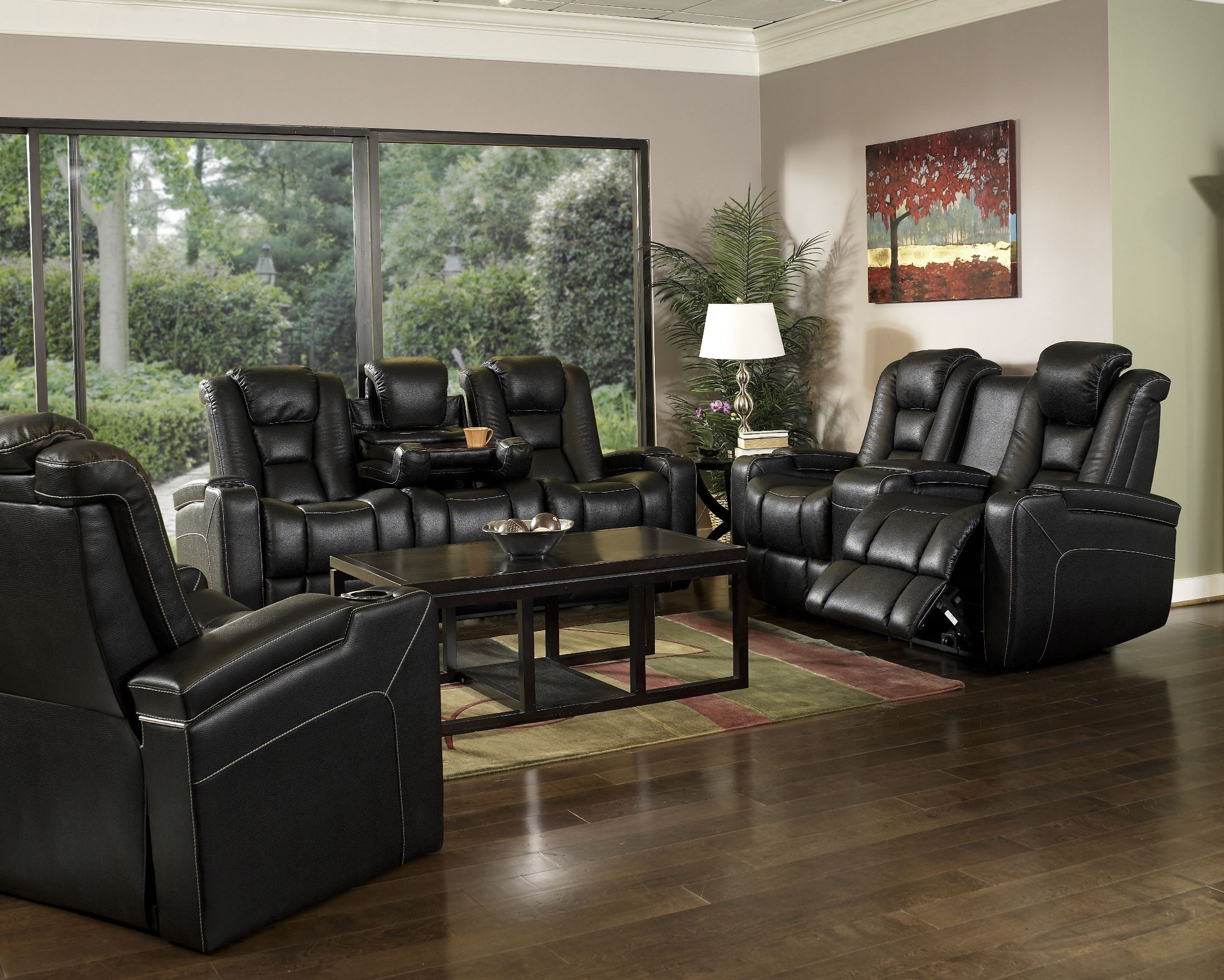 Evolution Black Leathaire Fabric Power Reclining Living Room Set Ro8040 43h 121f Row One