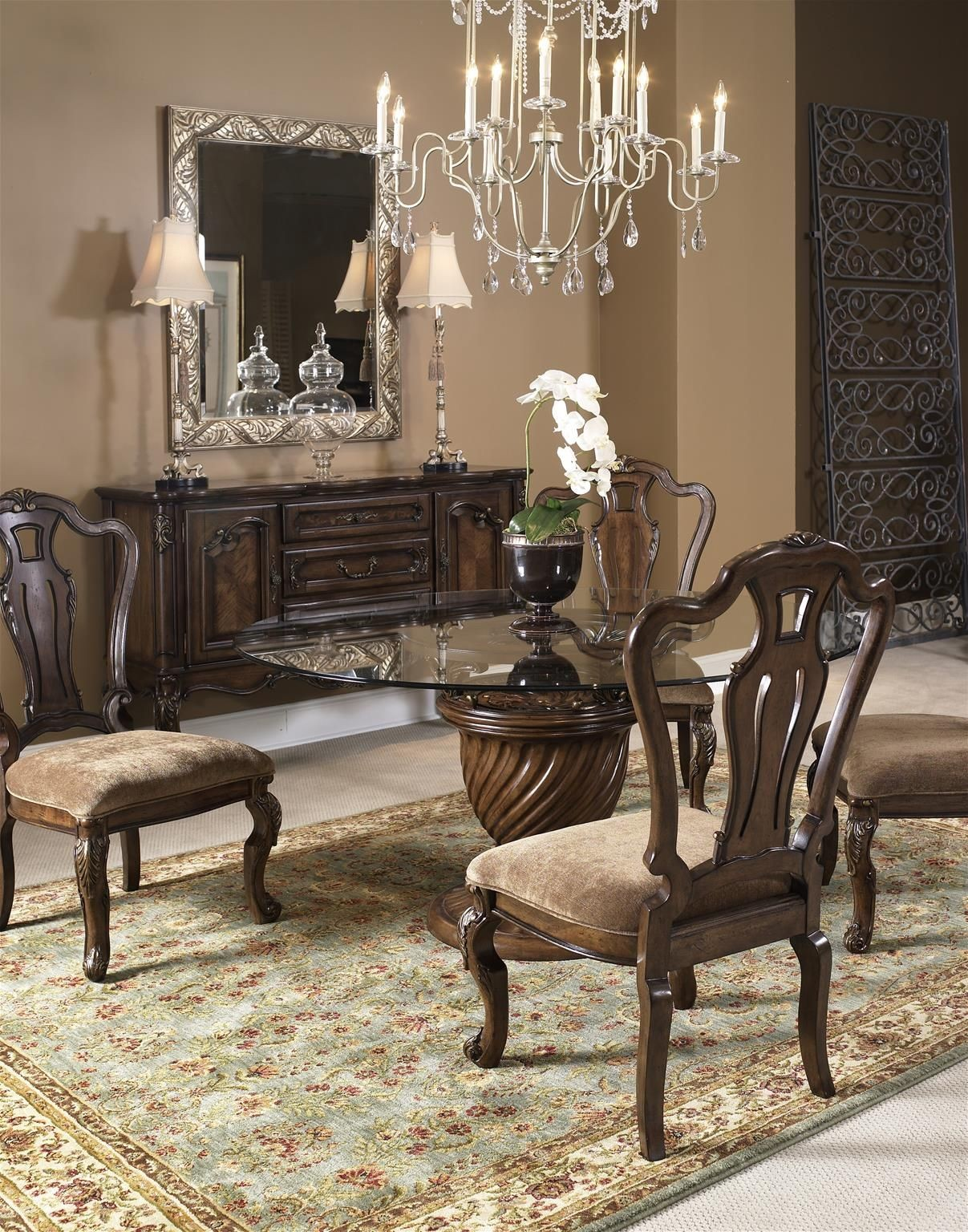 rochelle chestnut 60 quot round dining room set from fairmont