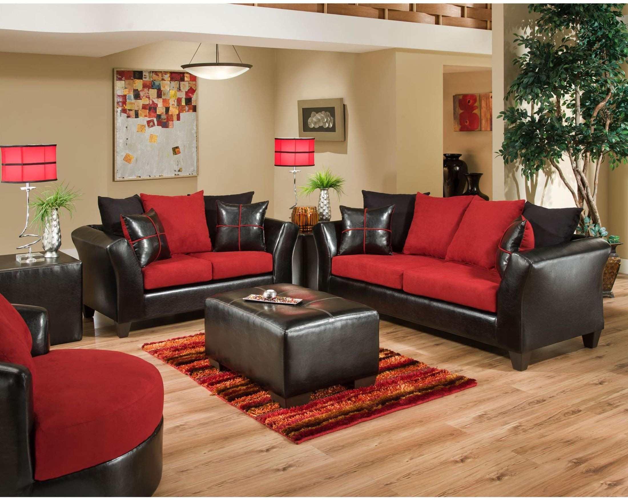 Riverstone Victory Lane Cardinal Microfiber Living Room Set RS 4170 04LS SET