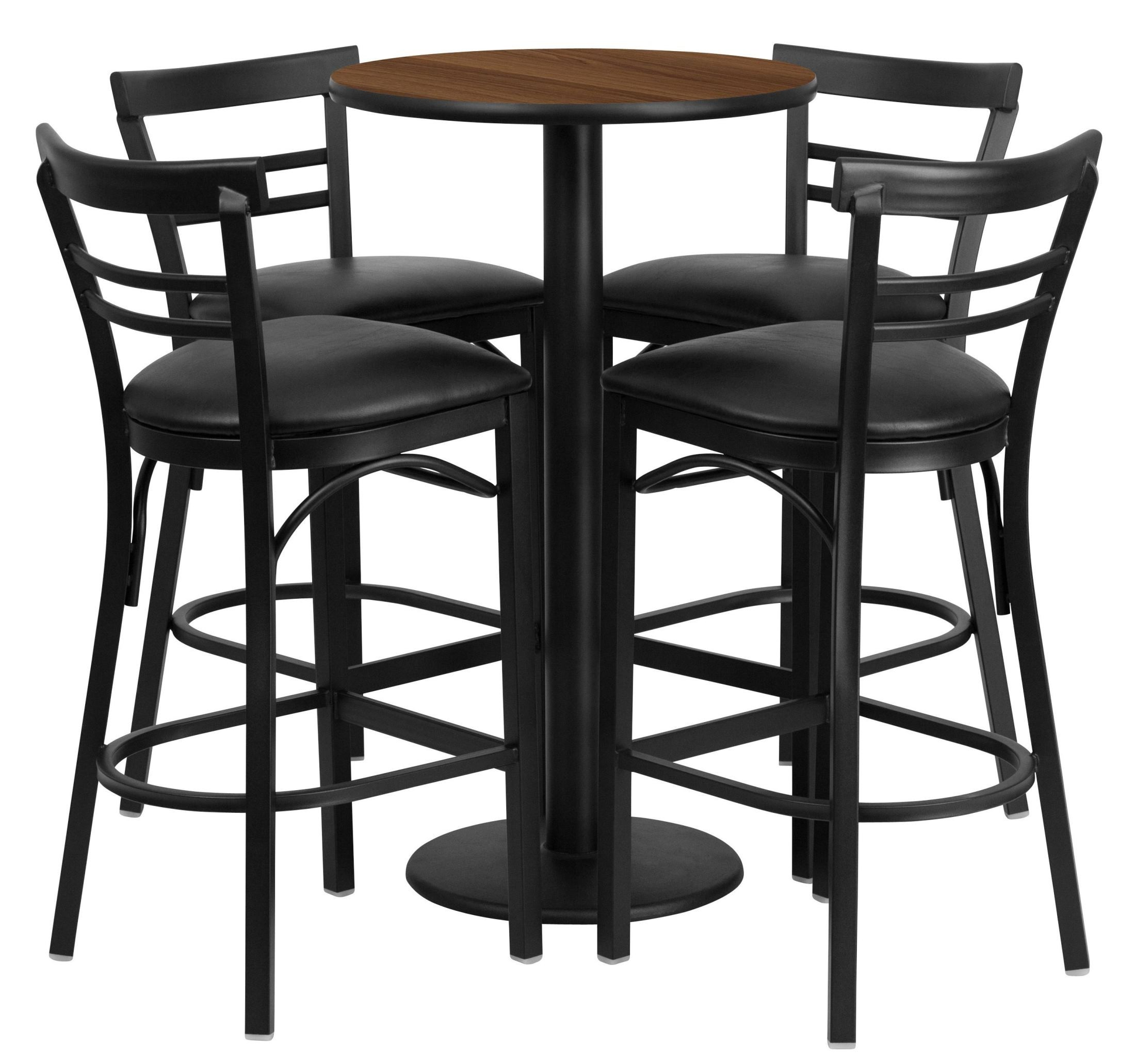 24 Quot Round Walnut Table Set With 4 Ladder Back Black Vinyl
