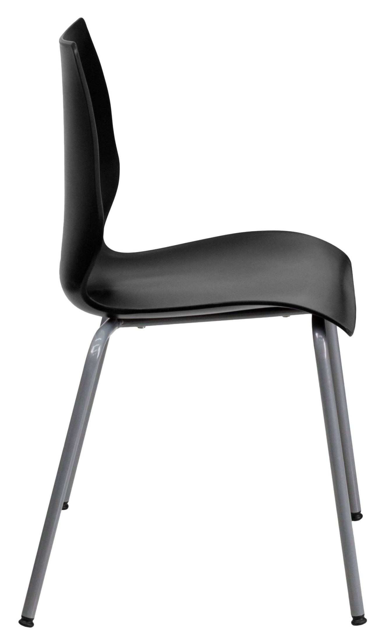Hercules Series Black Stack Chair With Lumbar Support And