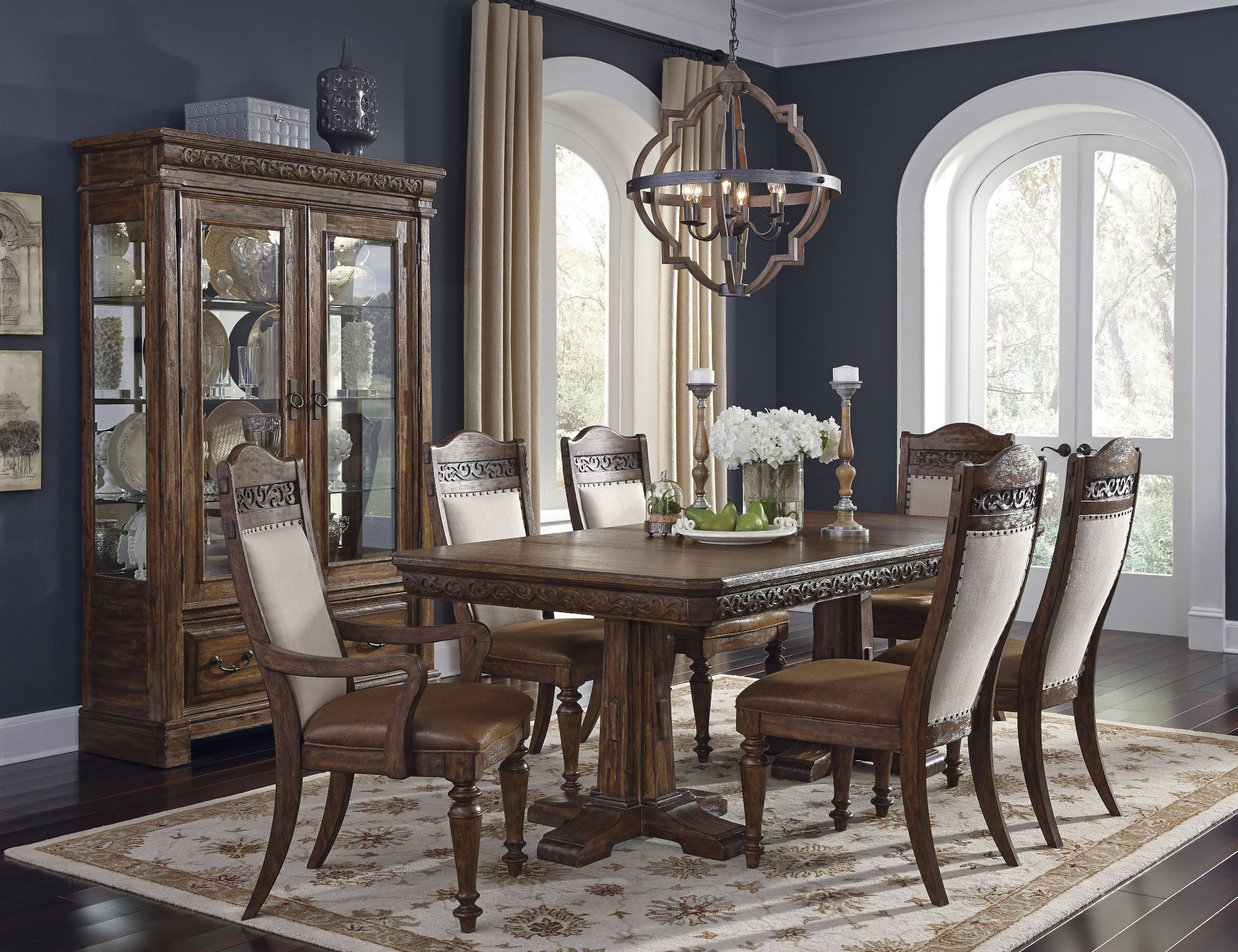 Barcelona brown rectangular extendable dining room set for Brown dining room set