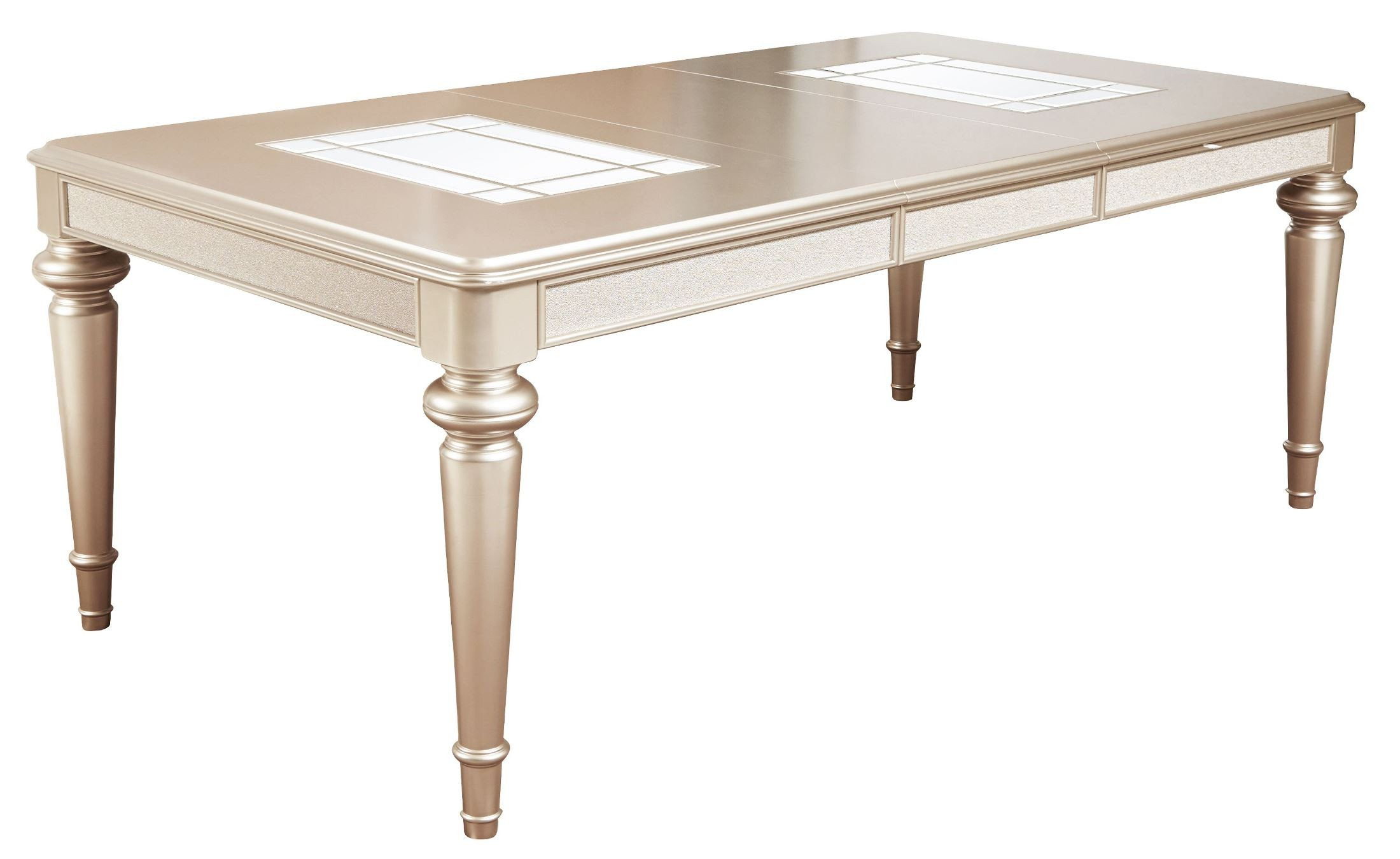 Dynasty gold metallic extendable rectangular leg dining for One leg dining table
