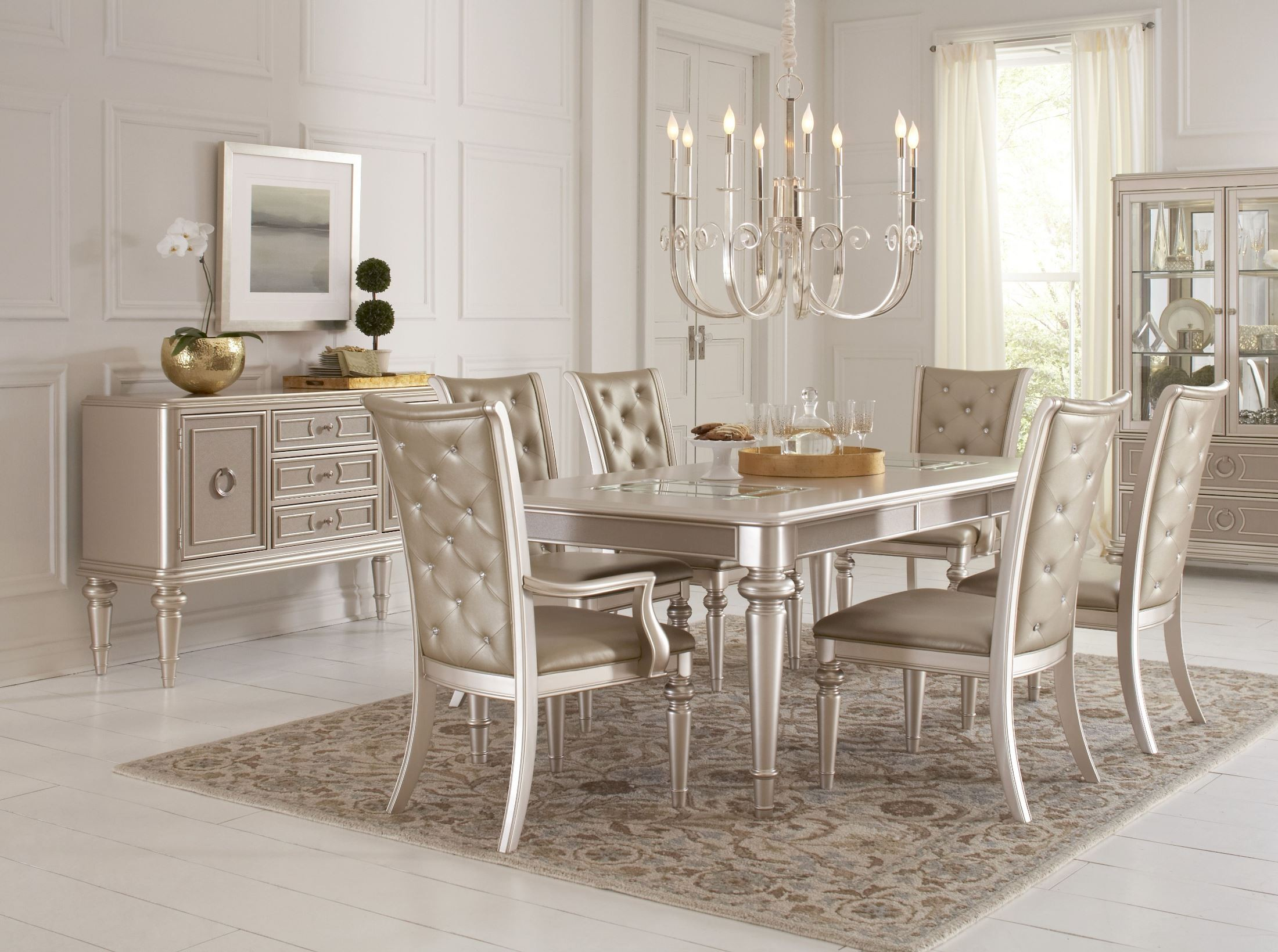 Dynasty Gold Metallic Extendable Rectangular Leg Dining  : s044 135146 rp4 from colemanfurniture.com size 2200 x 1639 jpeg 555kB