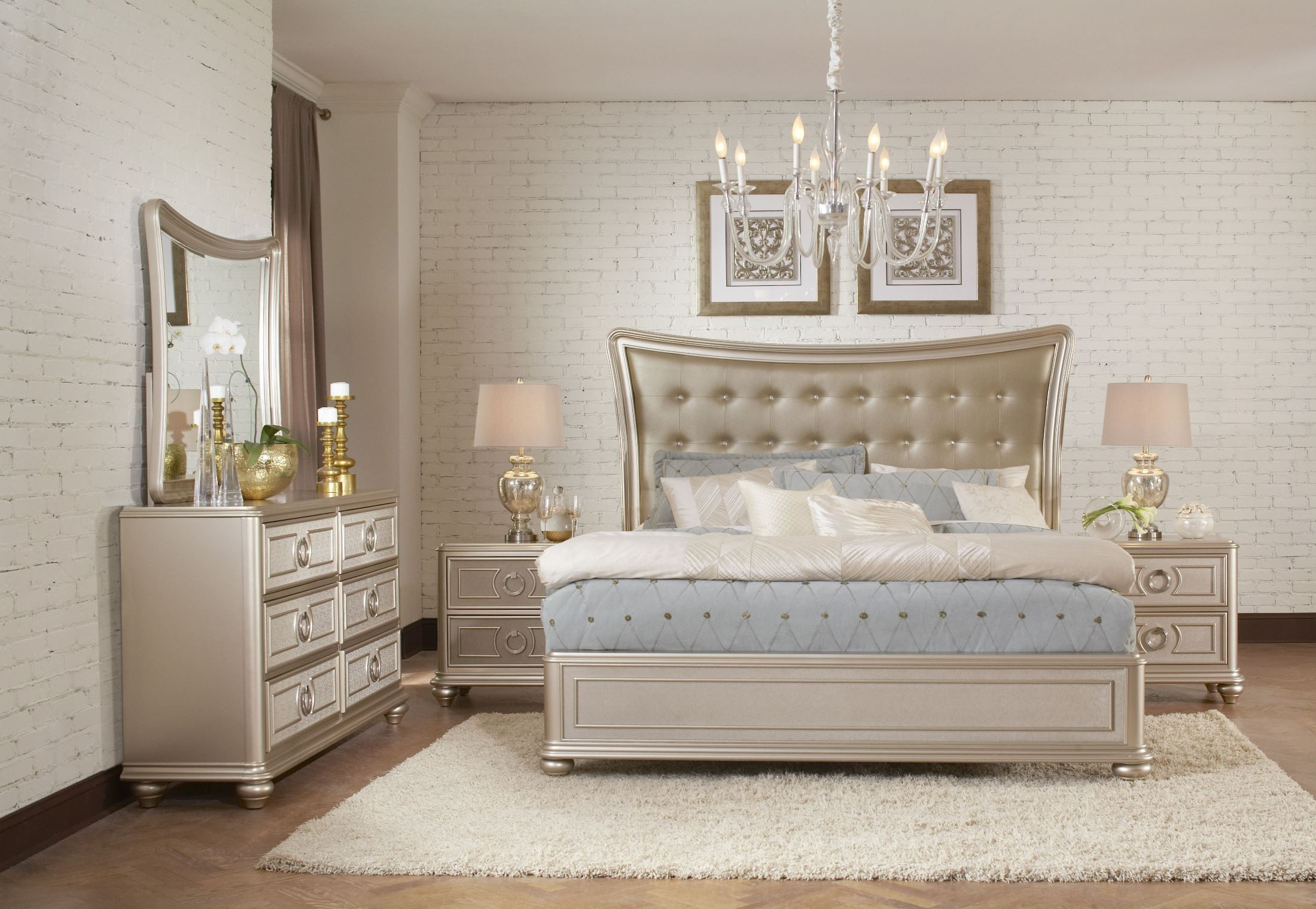 Dynasty gold metallic upholstered platform bedroom set for Bed and dresser set
