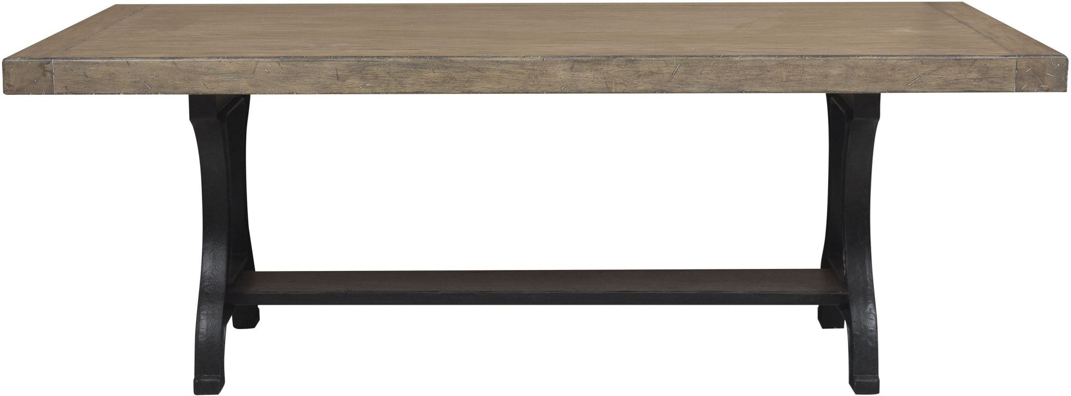 Flatbush brown cast rectangular pedestal dining table for Rectangular pedestal dining table