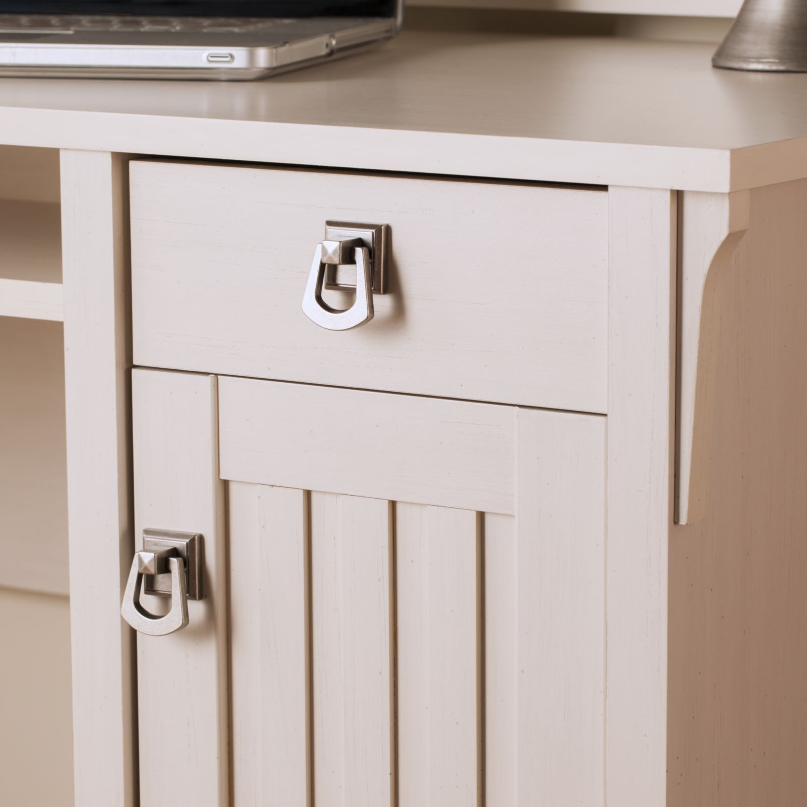 Salinas Antique White Mission Desk With Hutch From Bush