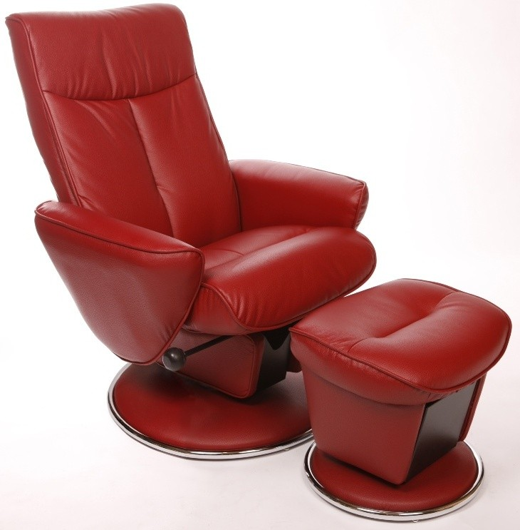 Relax Shelby Red Bonded Leather Swivel Glider Recliner