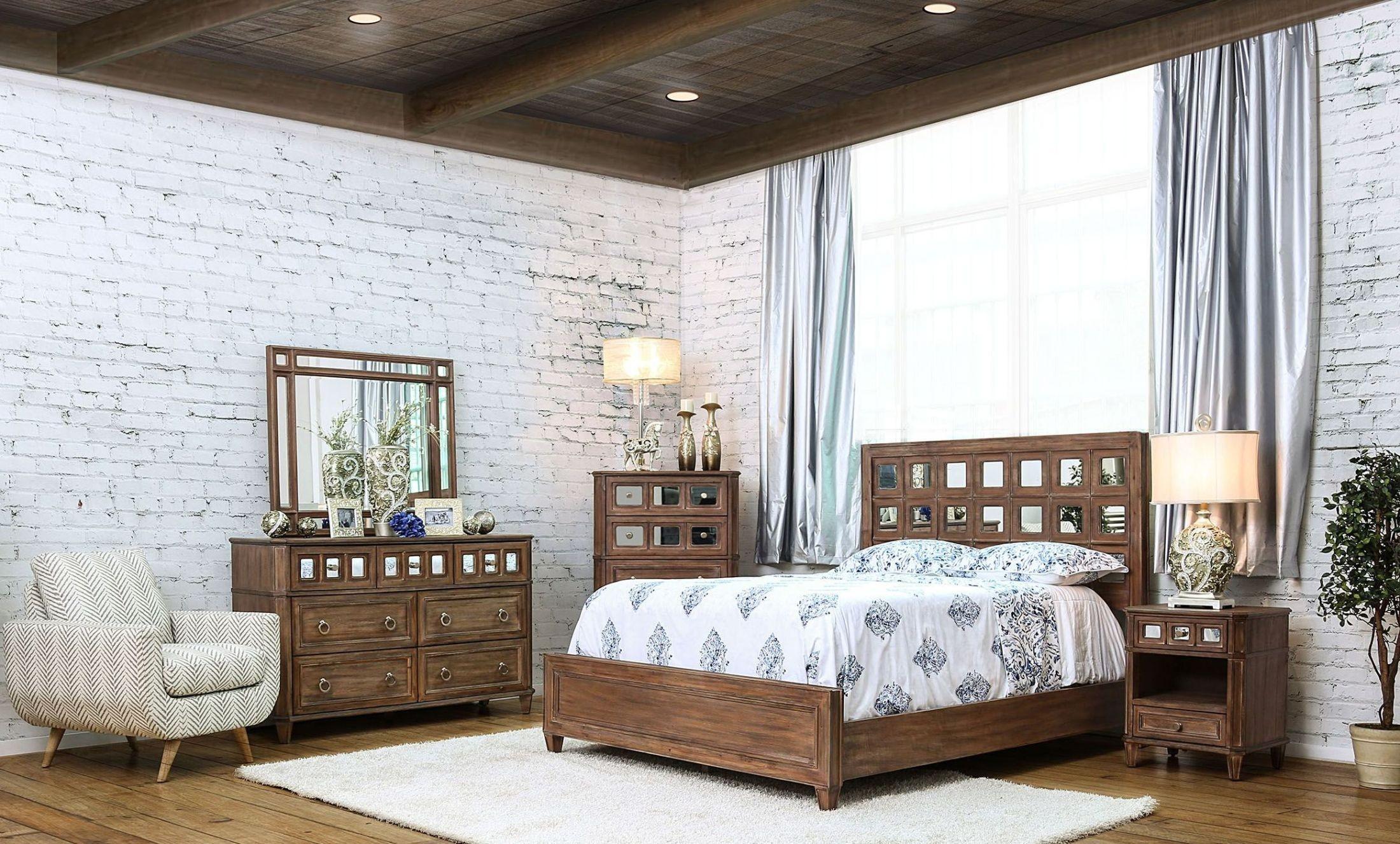 frontera rustic oak panel bedroom set cm7586q furniture of america. Black Bedroom Furniture Sets. Home Design Ideas
