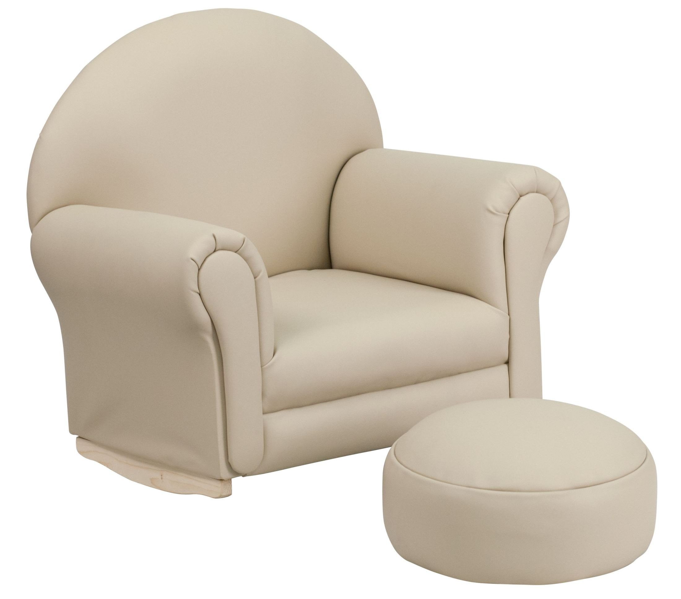 Kids Beige Vinyl Rocker Chair and Footrest, SF-03-OTTO-BEIGE-GG ...