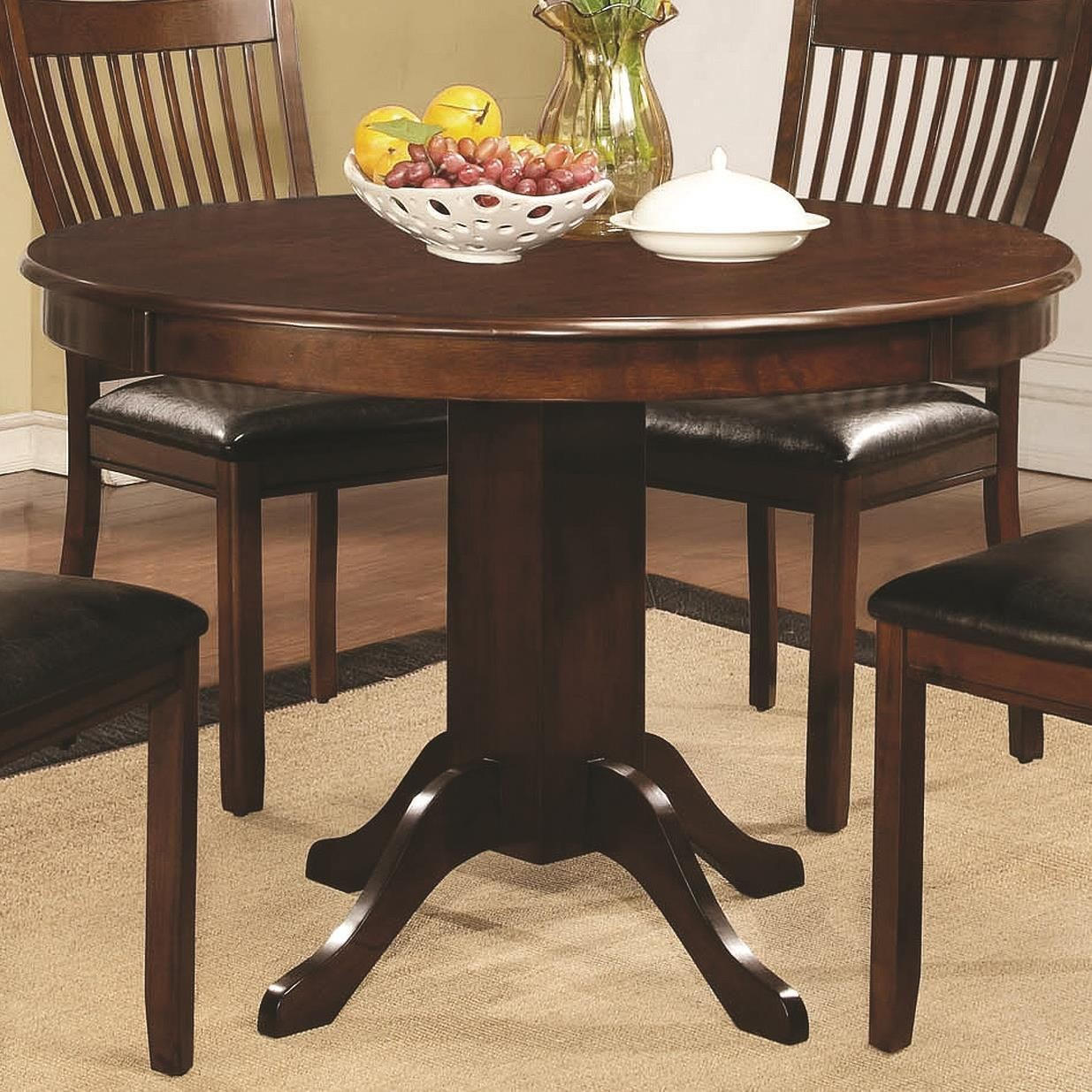 Sierra Cherry Brown Round Pedestal Dining Table From Coaster 105750