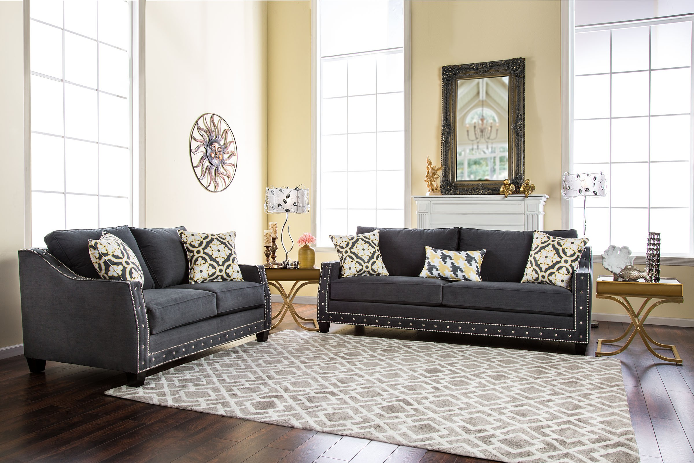 Crescenzo charcoal living room set sm2015 sf furniture for M s living room furniture