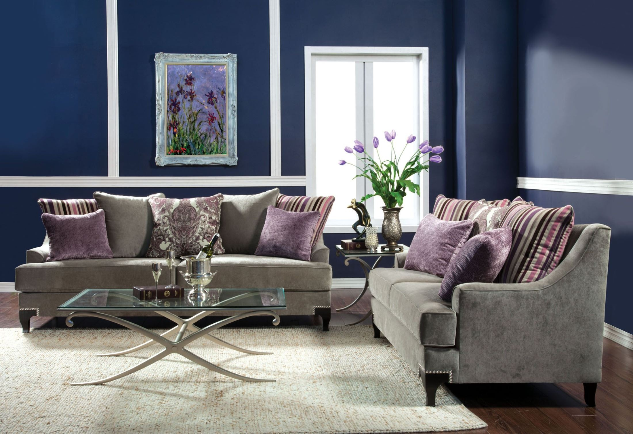 Viscontti vintage taupe living room set from furniture of america