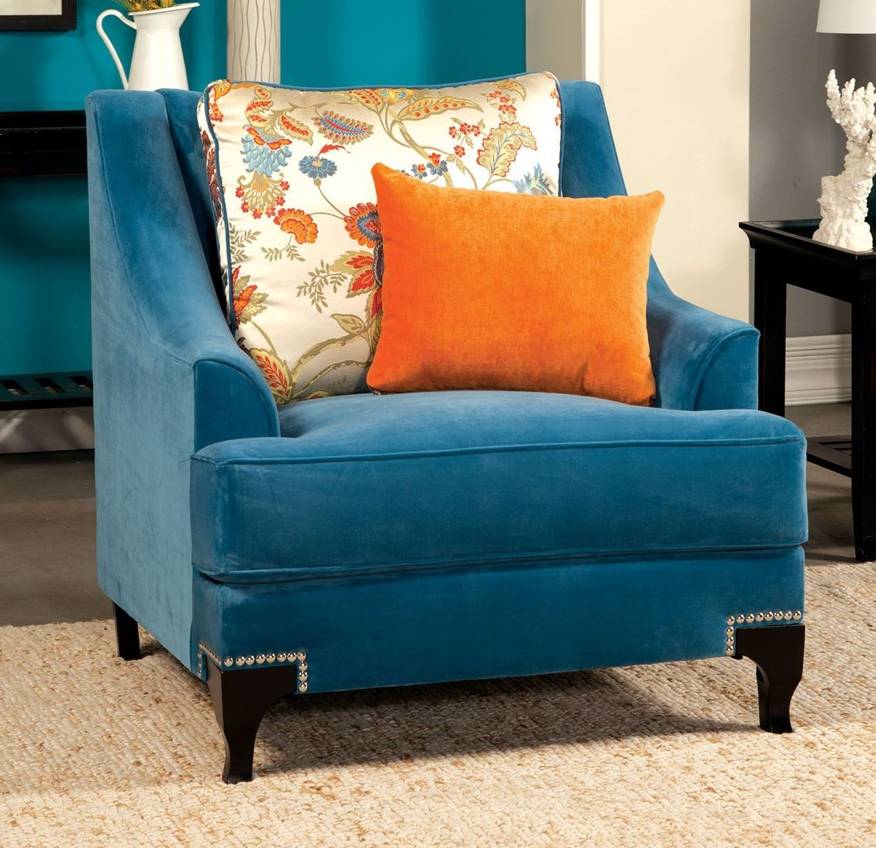 Vincenzo Peacock Blue Chair from Furniture of America (SM2203-CH ...