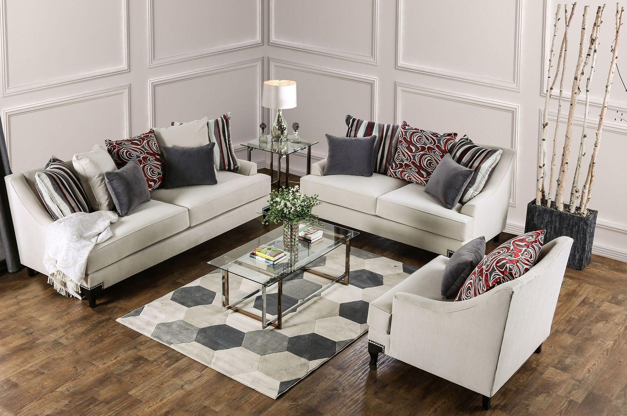 Viscontti Ivory Upholstered Living Room Set Sm2206 Sf Furniture Of America
