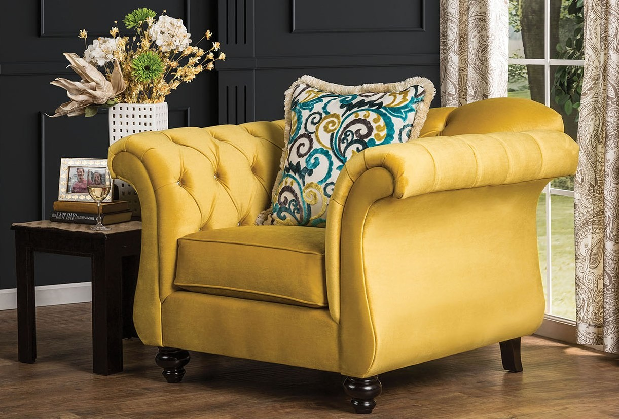 Antoinette Royal Yellow Living Room Set Sm2223 Sf Furniture Of America