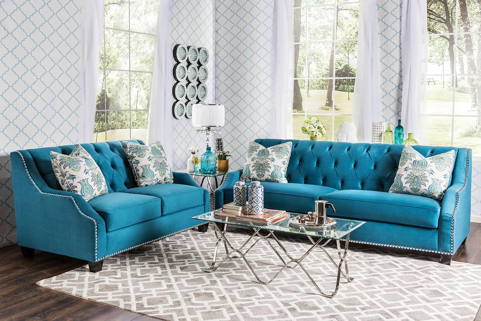 celeste azure blue living room set sm2226 sf furniture of america. Black Bedroom Furniture Sets. Home Design Ideas