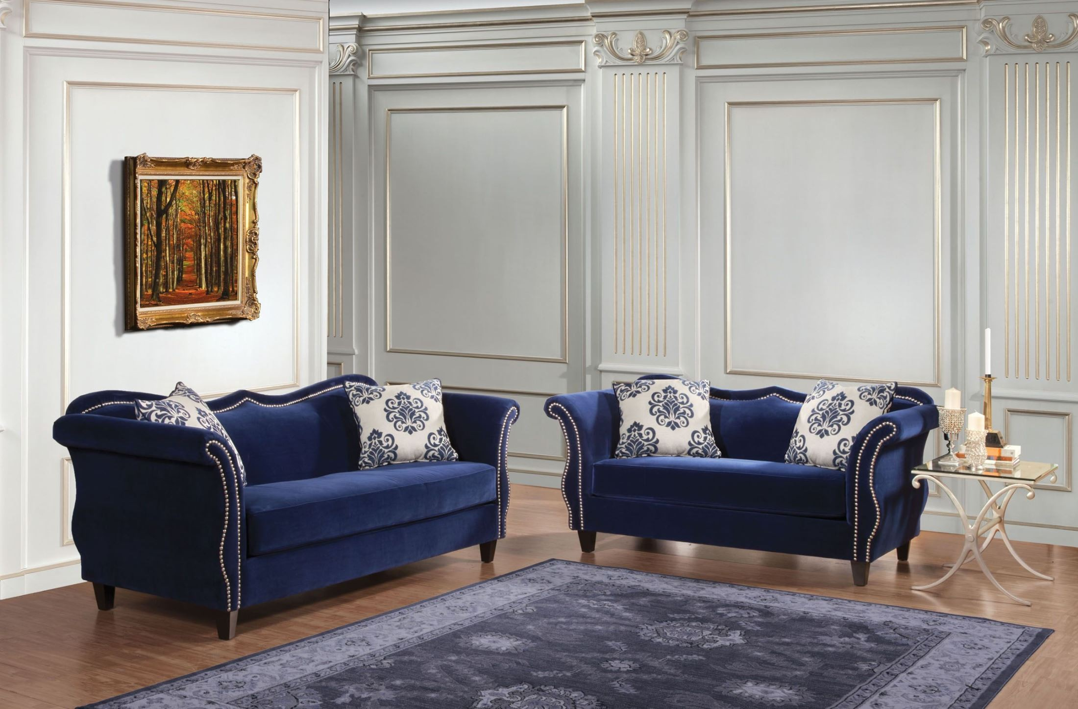 Zaffiro royal blue living room set sm2231 sf furniture of america - Blue living room chairs ...