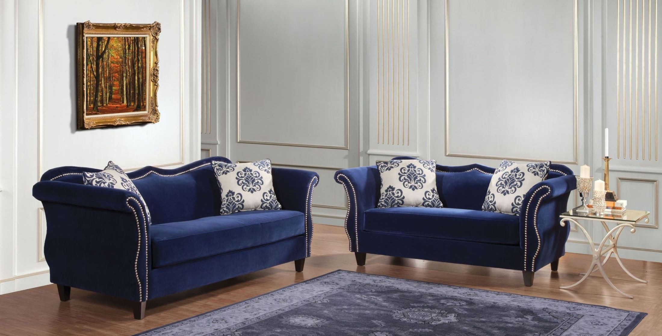 zaffiro royal blue living room set from furniture of america sm2231