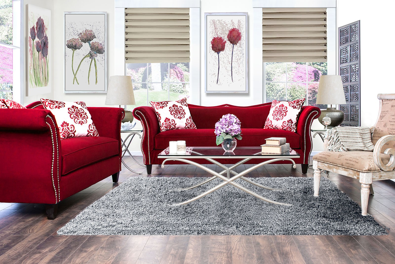Zaffiro ruby red living room set sm2232 sf furniture of for M s living room furniture