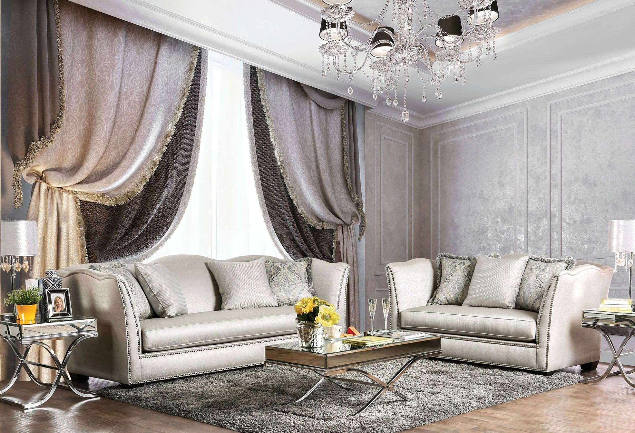 Alessandra Silver Living Room Set SM2288 SF Furniture Of America