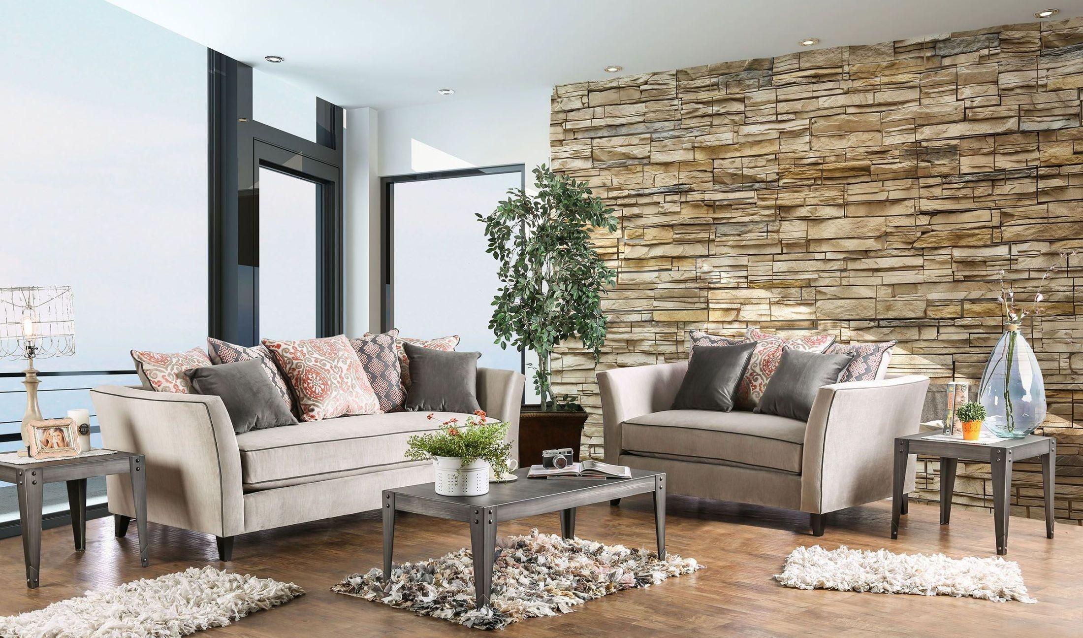 Chantal Light Gray Living Room Set Sm2663 Sf Furniture Of America