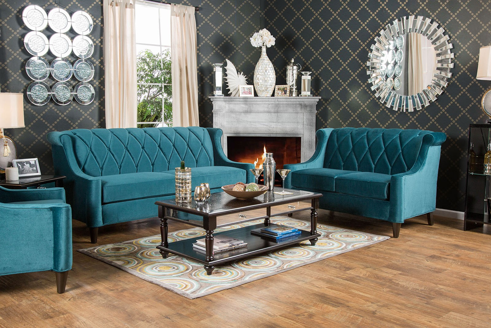 These 6 Pieces Of Colorful Furniture Are Absolute Must Haves: Limerick Dark Teal Living Room Set, SM2882-SF, Furniture