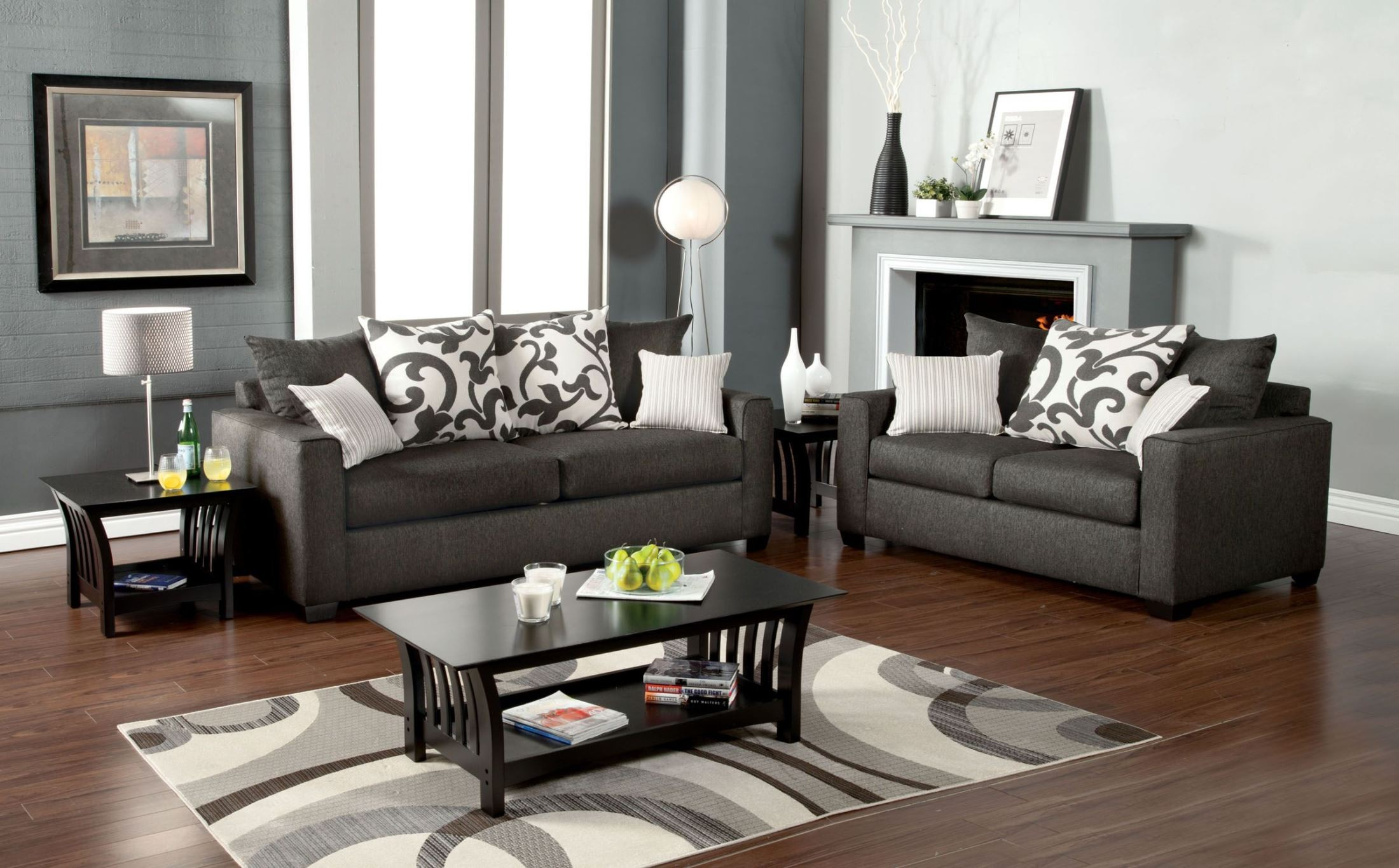 Cranbrook Charcoal Living Room Set From Furniture Of America SM3010 SF Co