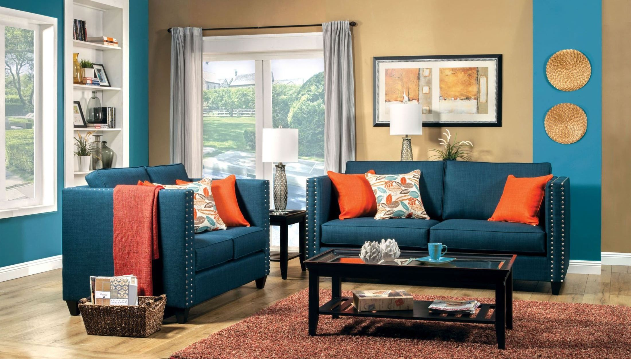 palermo turquoise blue living room set from furniture of