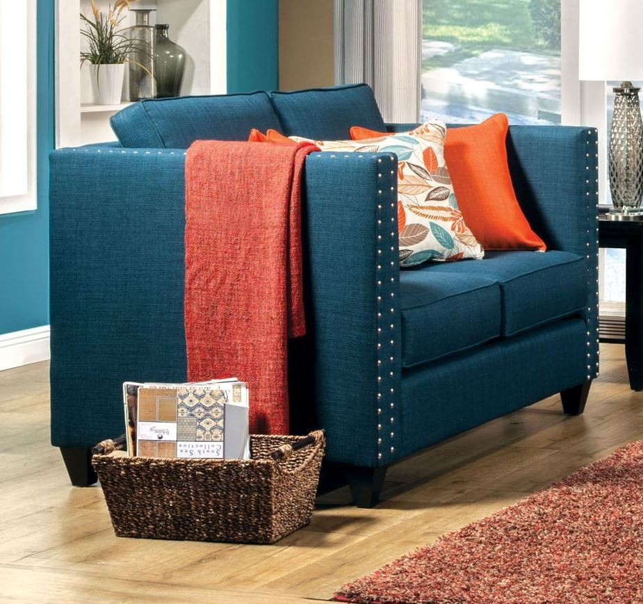 Palermo Turquoise Blue Loveseat From Furniture Of America Sm4001 Lv Coleman Furniture